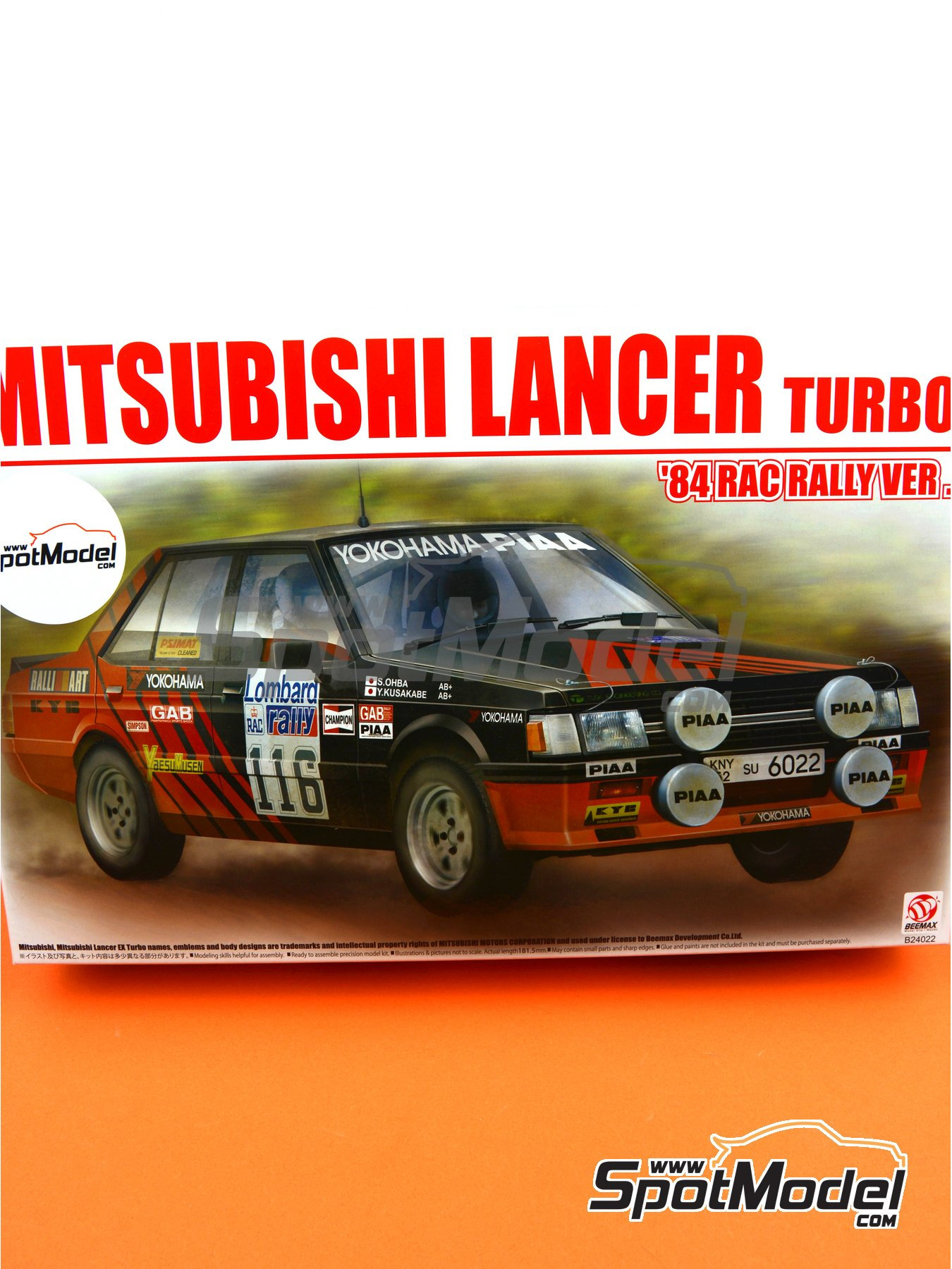 Mitsubishi Lancer 2000 Turbo - Lombard RAC Rally 1984 | Model car kit in 1/24 scale manufactured by Beemax Model Kits (ref. B24022) image