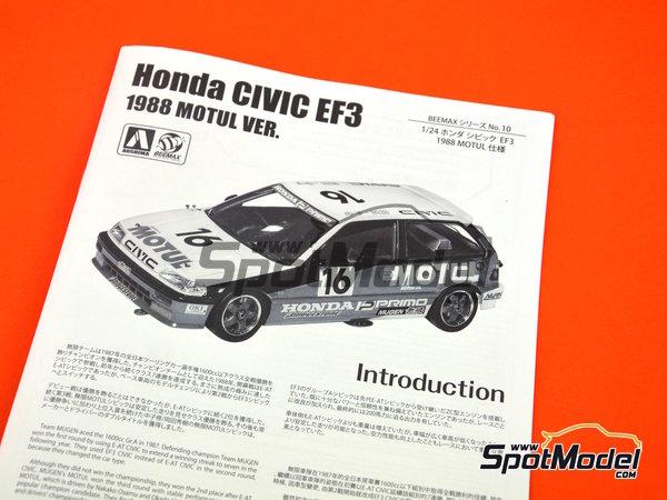 Image 13: Honda Civic EF3 Grupo A -  1988 | Maqueta de coche en escala1/24 fabricado por Beemax Model Kits (ref.B29009)