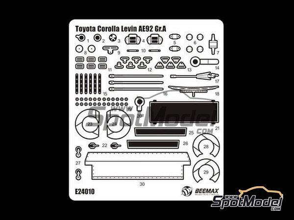 Image 2: Toyota Corolla Levin AE92 Grupo A | Set de mejora y detallado en escala1/24 fabricado por Beemax Model Kits (ref.E24010)