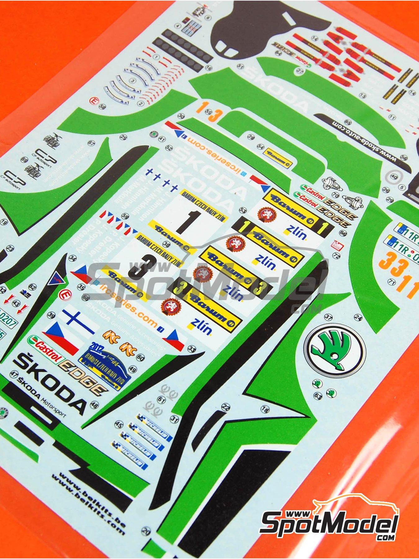 Skoda Fabia S2000 Evo: Calcas - Rally Barum de la Republica Checa 2012 | Pieza de reemplazo en escala1/24 fabricado por Belkits (ref.BEL-004-DECAL) image