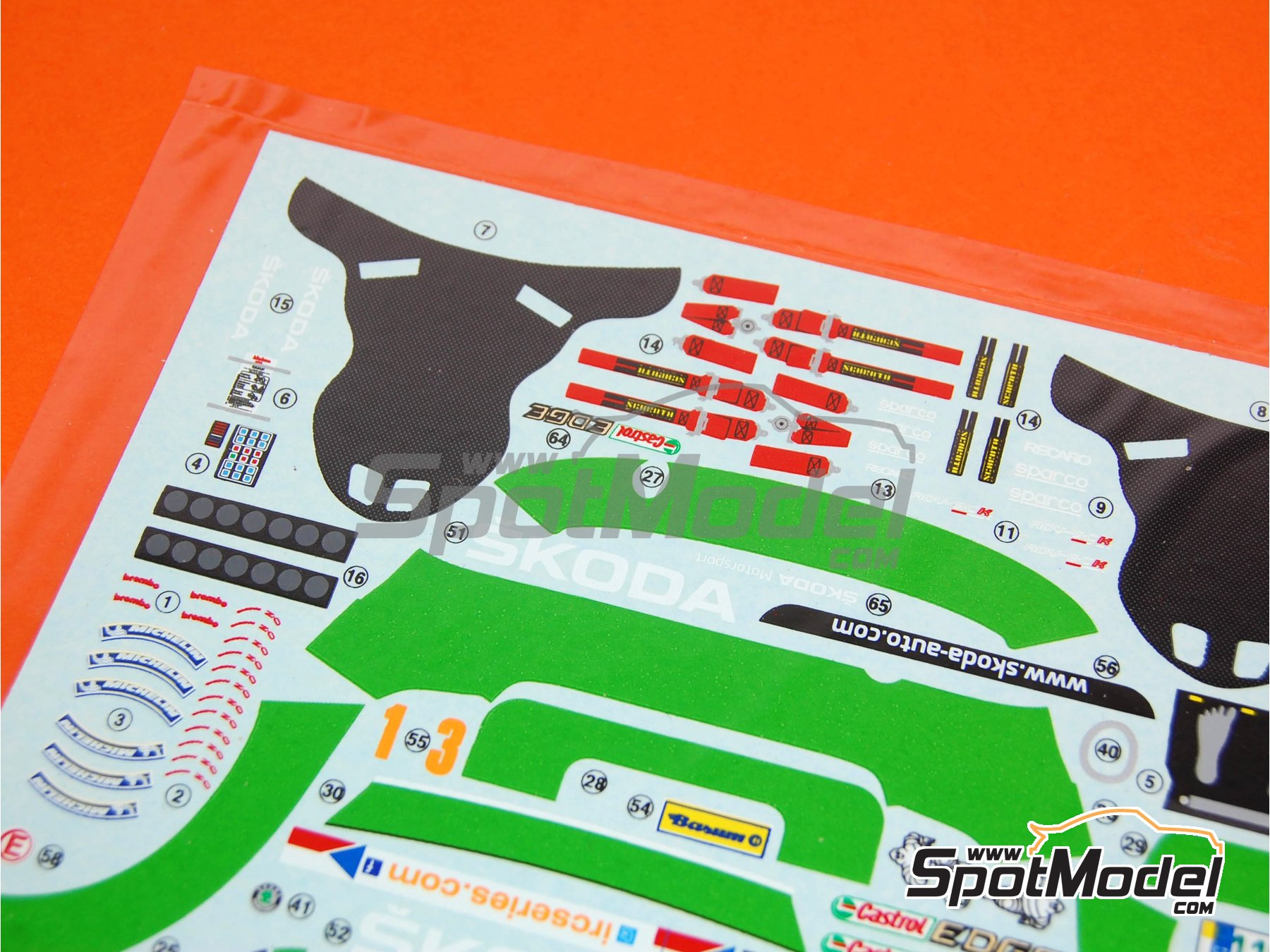 Image 1: Skoda Fabia S2000 Evo: Calcas - Rally Barum de la Republica Checa 2012 | Pieza de reemplazo en escala1/24 fabricado por Belkits (ref.BEL-004-DECAL)