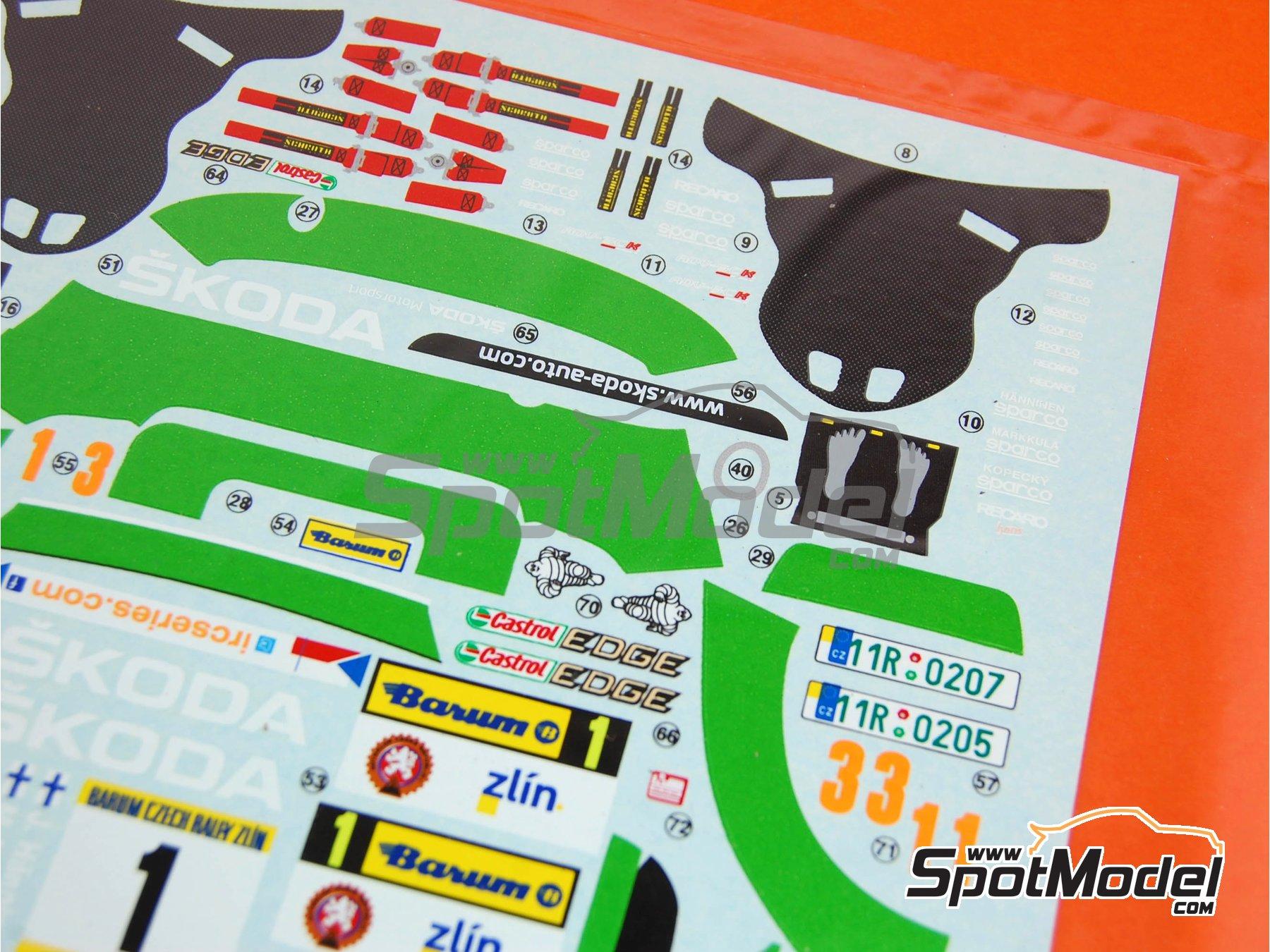 Image 2: Skoda Fabia S2000 Evo: Calcas - Rally Barum de la Republica Checa 2012 | Pieza de reemplazo en escala1/24 fabricado por Belkits (ref.BEL-004-DECAL)