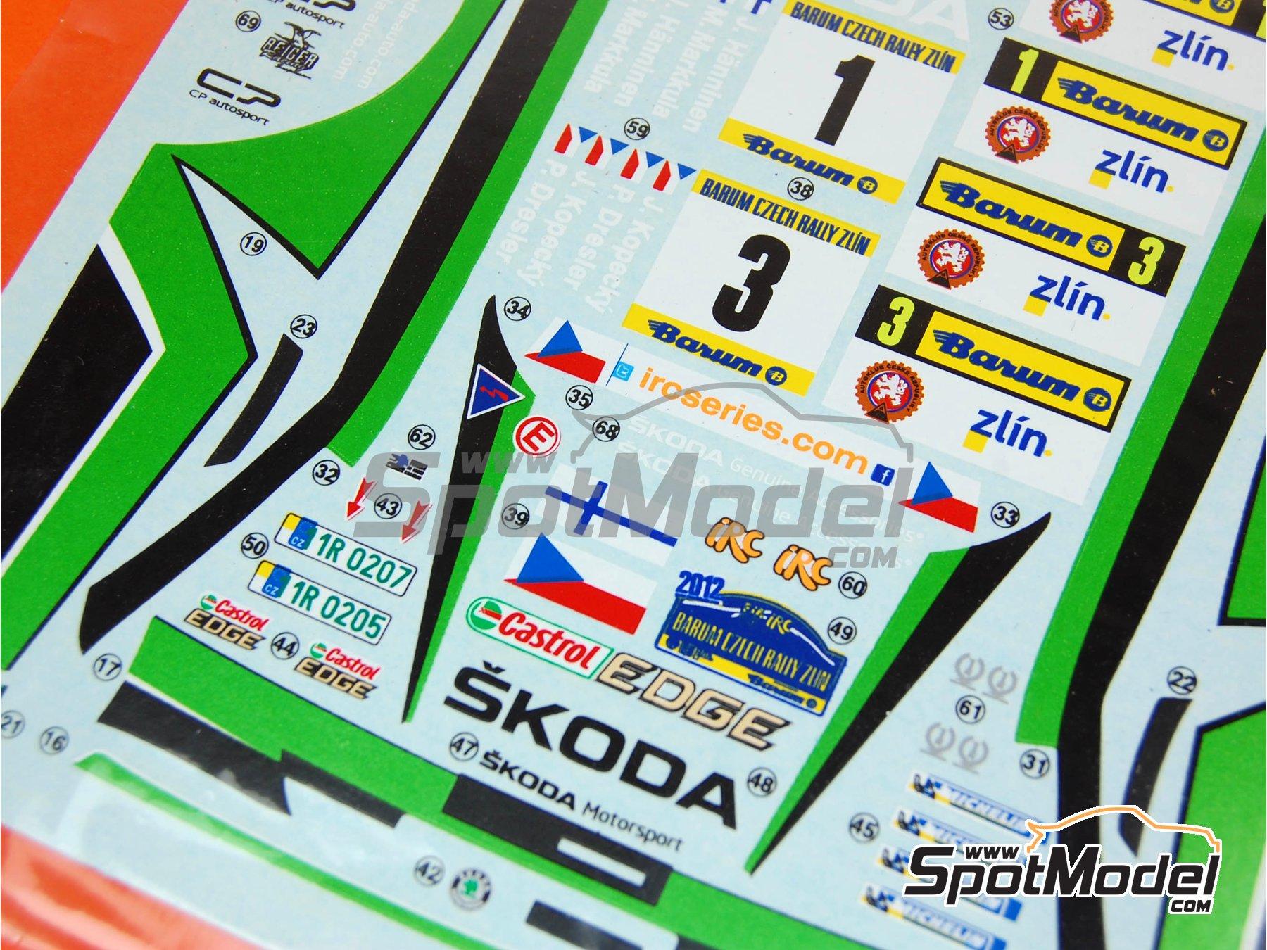 Image 4: Skoda Fabia S2000 Evo: Calcas - Rally Barum de la Republica Checa 2012 | Pieza de reemplazo en escala1/24 fabricado por Belkits (ref.BEL-004-DECAL)