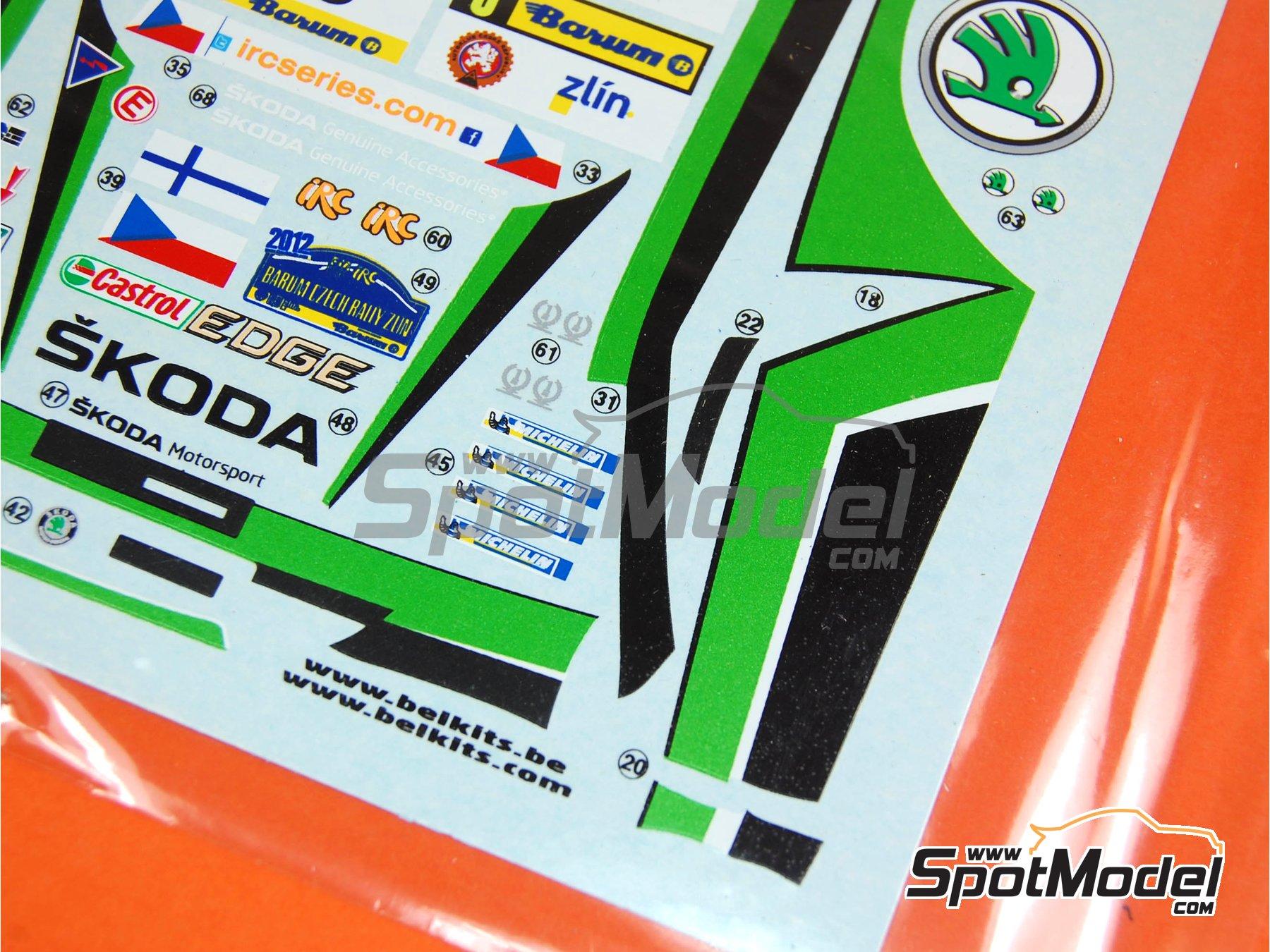Image 5: Skoda Fabia S2000 Evo: Calcas - Rally Barum de la Republica Checa 2012 | Pieza de reemplazo en escala1/24 fabricado por Belkits (ref.BEL-004-DECAL)