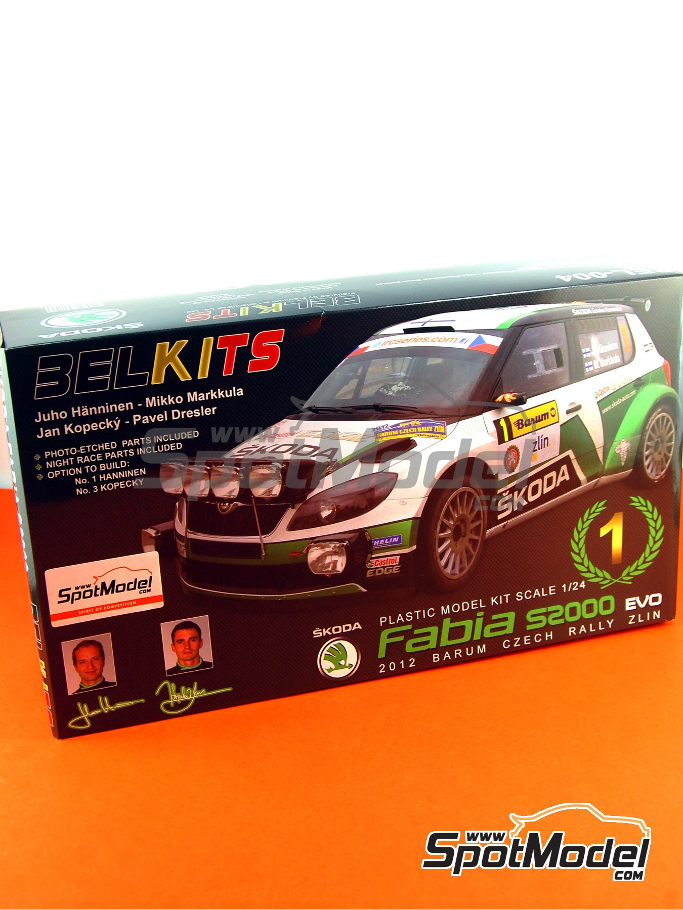 Skoda Fabia S2000 Evo - Barum Czech Rally 2012 | Model car kit in 1/24 scale manufactured by Belkits (ref. BEL-004, also BEL004) image