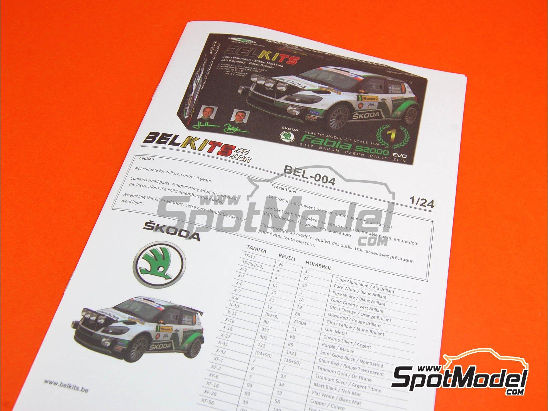 Image 1: Skoda Fabia S2000 Evo - Barum Czech Rally 2012 | Model car kit in 1/24 scale manufactured by Belkits (ref.BEL-004, also BEL004)