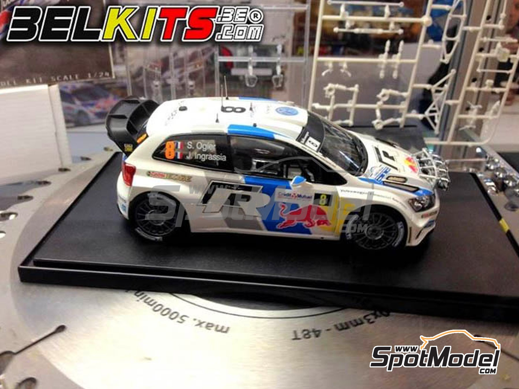 Image 1: Volkswagen Polo R WRC - Alsace France Rally 2013 | Model car kit in 1/24 scale manufactured by Belkits (ref.BEL-005)