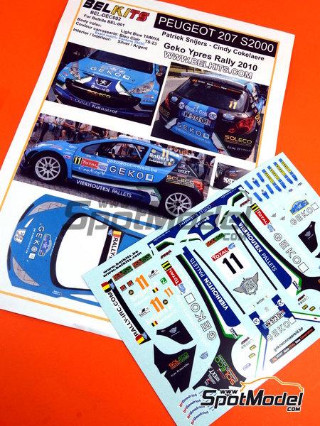 Peugeot 207 S2000 Geko - Ypres Rally 2010 | Decals in 1/24 scale manufactured by Belkits (ref.BEL-DEC002) image