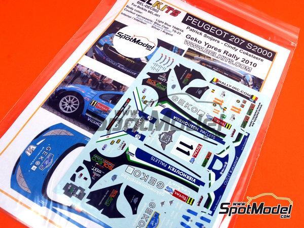 Image 1: Peugeot 207 S2000 Geko - Ypres Rally 2010 | Decals in 1/24 scale manufactured by Belkits (ref.BEL-DEC002)
