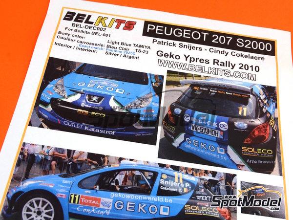 Image 2: Peugeot 207 S2000 Geko - Ypres Rally 2010 | Decals in 1/24 scale manufactured by Belkits (ref.BEL-DEC002)