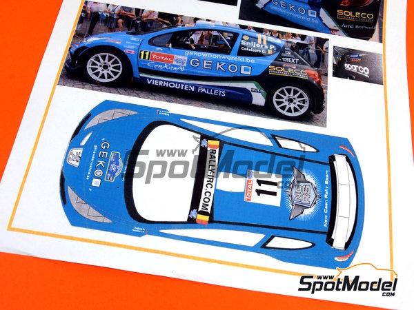 Image 3: Peugeot 207 S2000 Geko - Ypres Rally 2010 | Decals in 1/24 scale manufactured by Belkits (ref.BEL-DEC002)