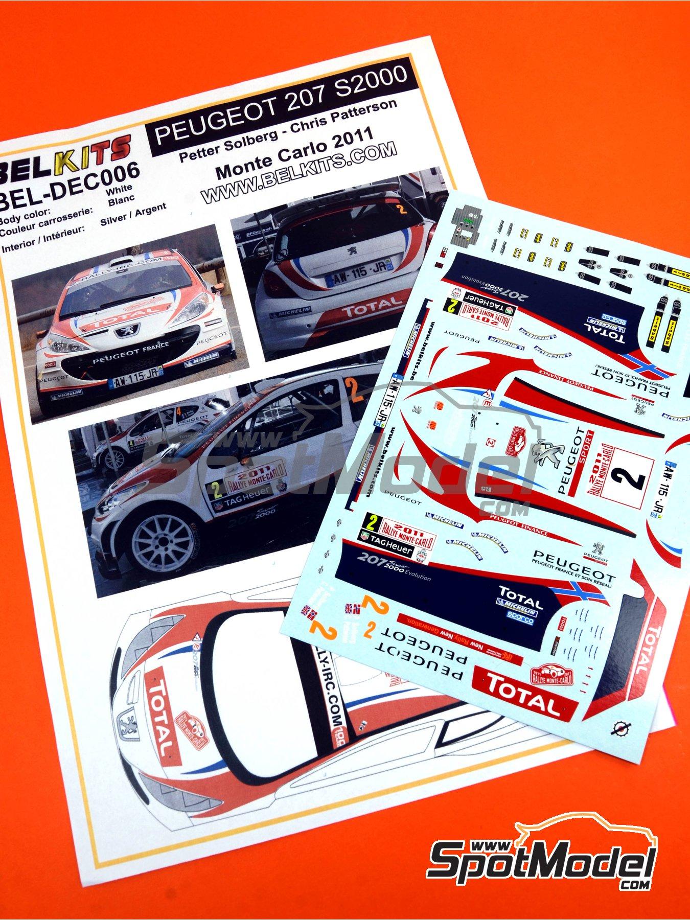 Peugeot 207 S2000 Total - Rally de Montecarlo 2011 | Decoración en escala1/24 fabricado por Belkits (ref.BEL-DEC006) image