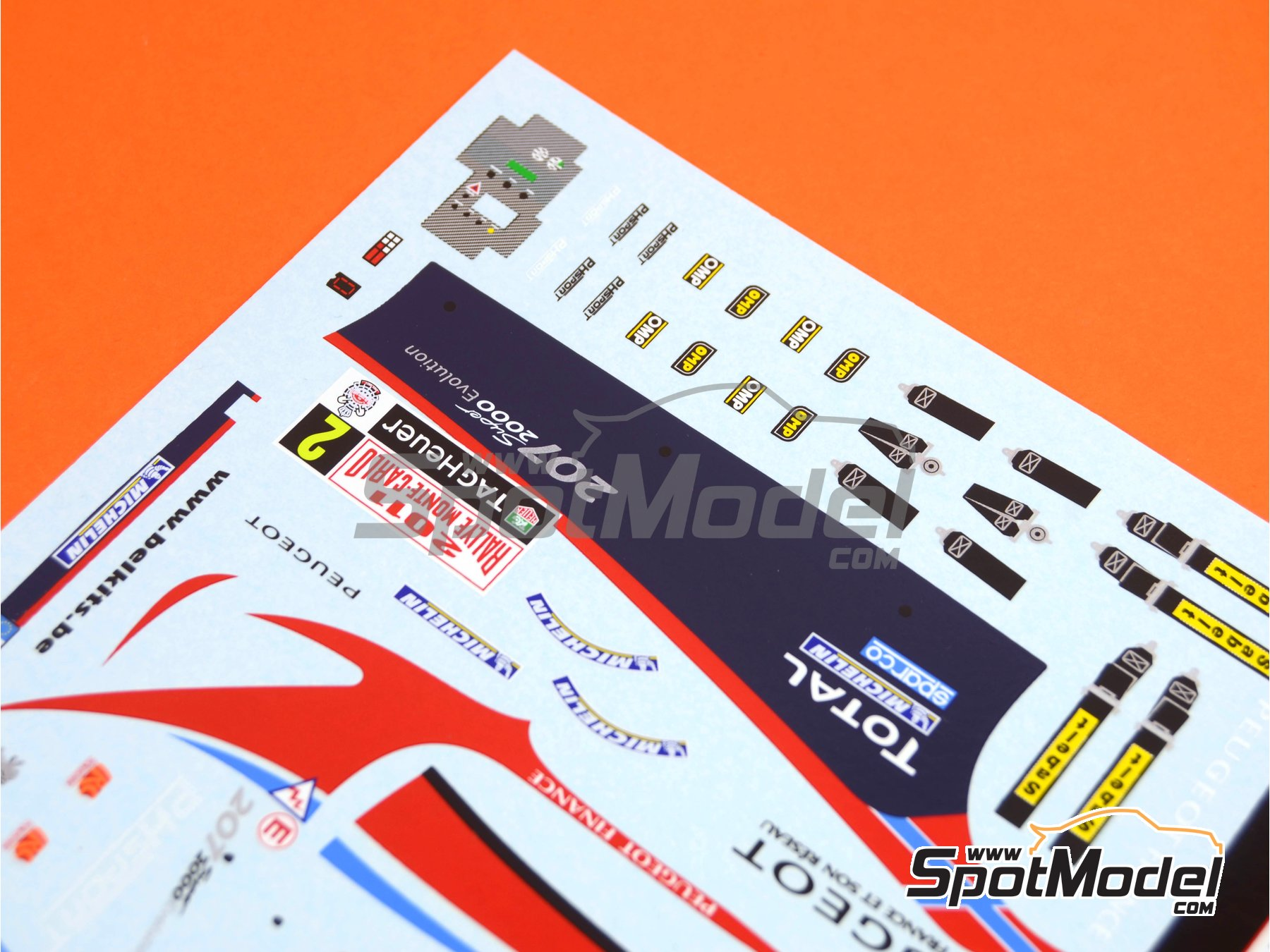 Image 2: Peugeot 207 S2000 Total - Rally de Montecarlo 2011 | Decoración en escala1/24 fabricado por Belkits (ref.BEL-DEC006)