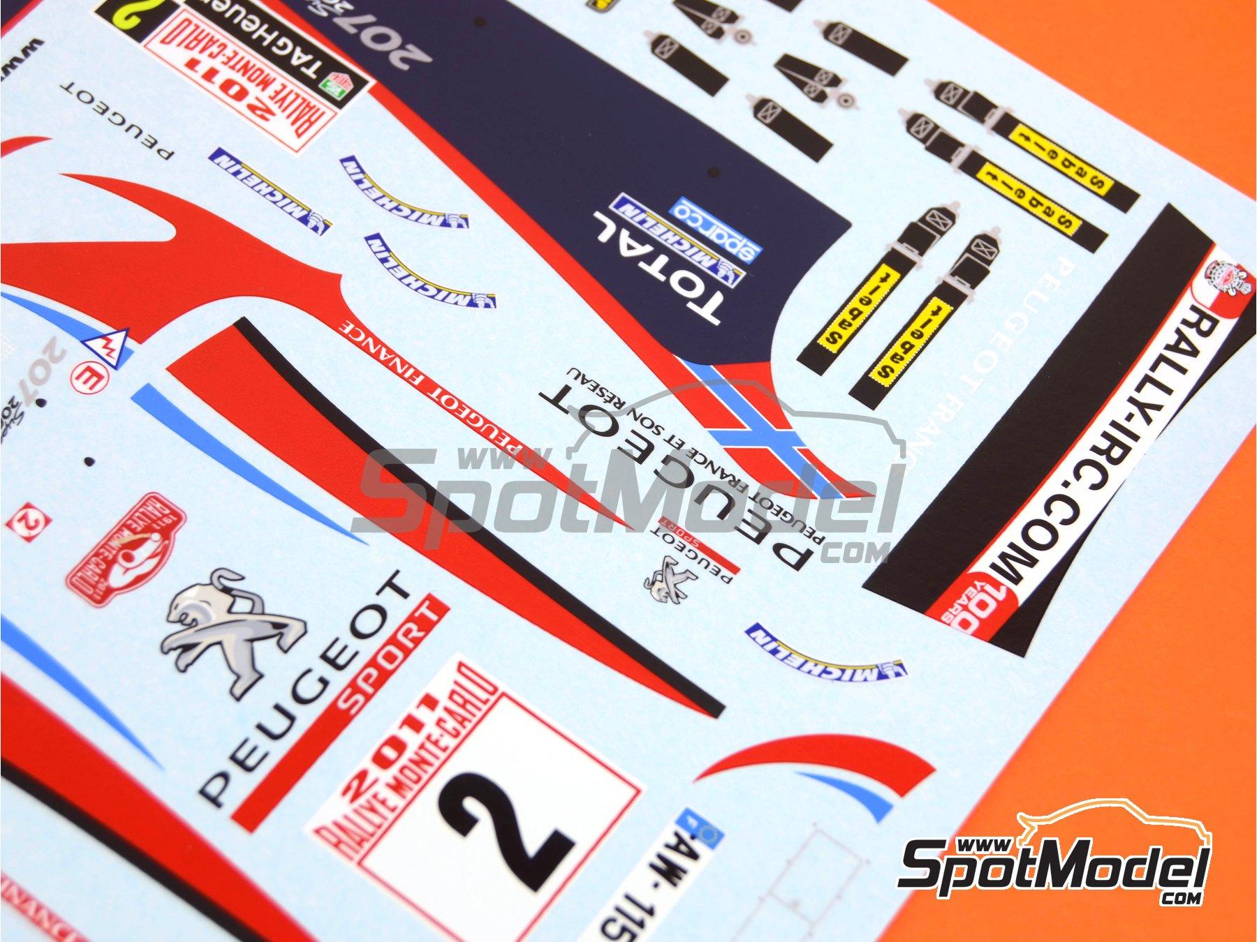 Image 3: Peugeot 207 S2000 Total - Rally de Montecarlo 2011 | Decoración en escala1/24 fabricado por Belkits (ref.BEL-DEC006)