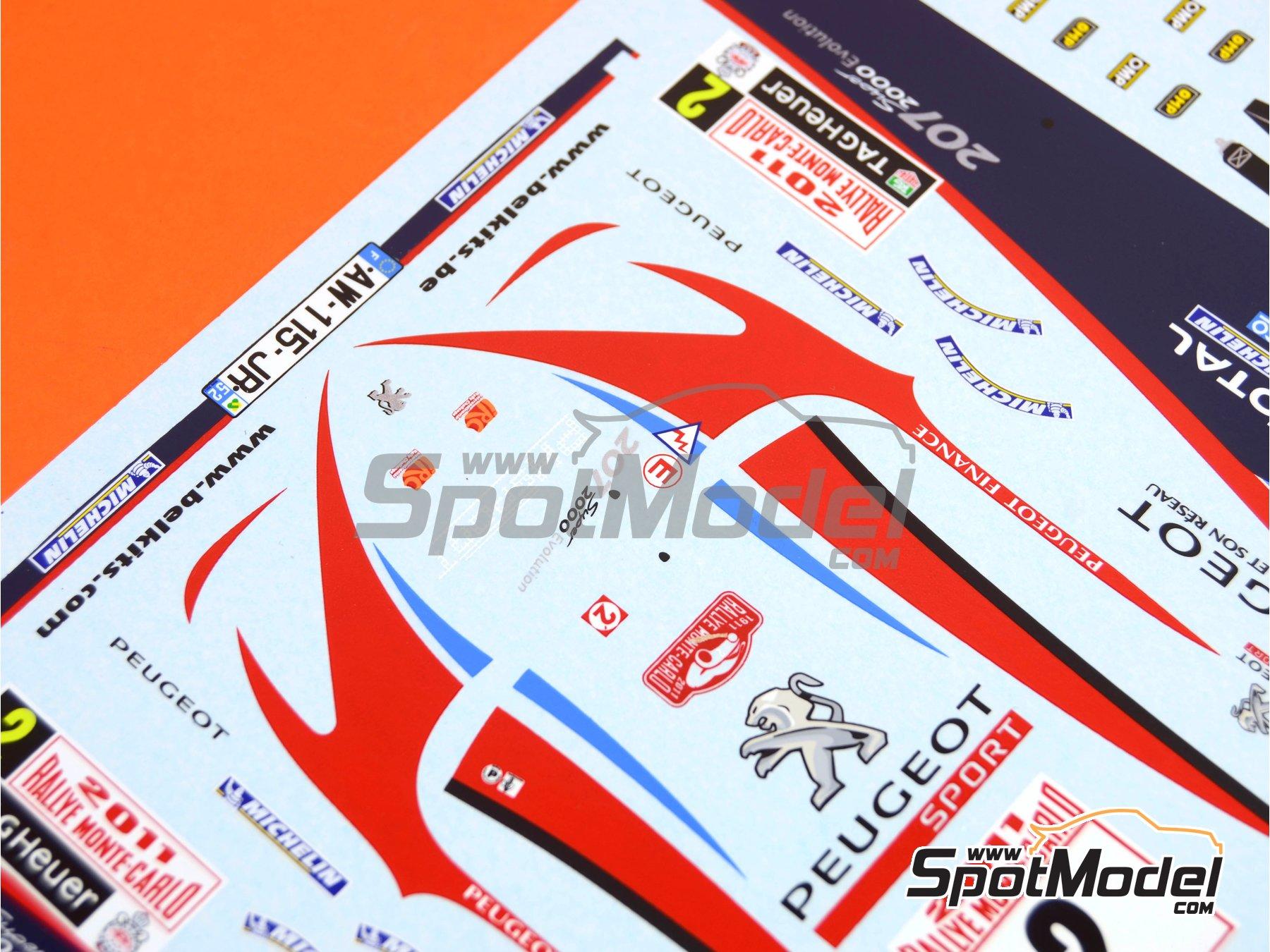 Image 4: Peugeot 207 S2000 Total - Rally de Montecarlo 2011 | Decoración en escala1/24 fabricado por Belkits (ref.BEL-DEC006)