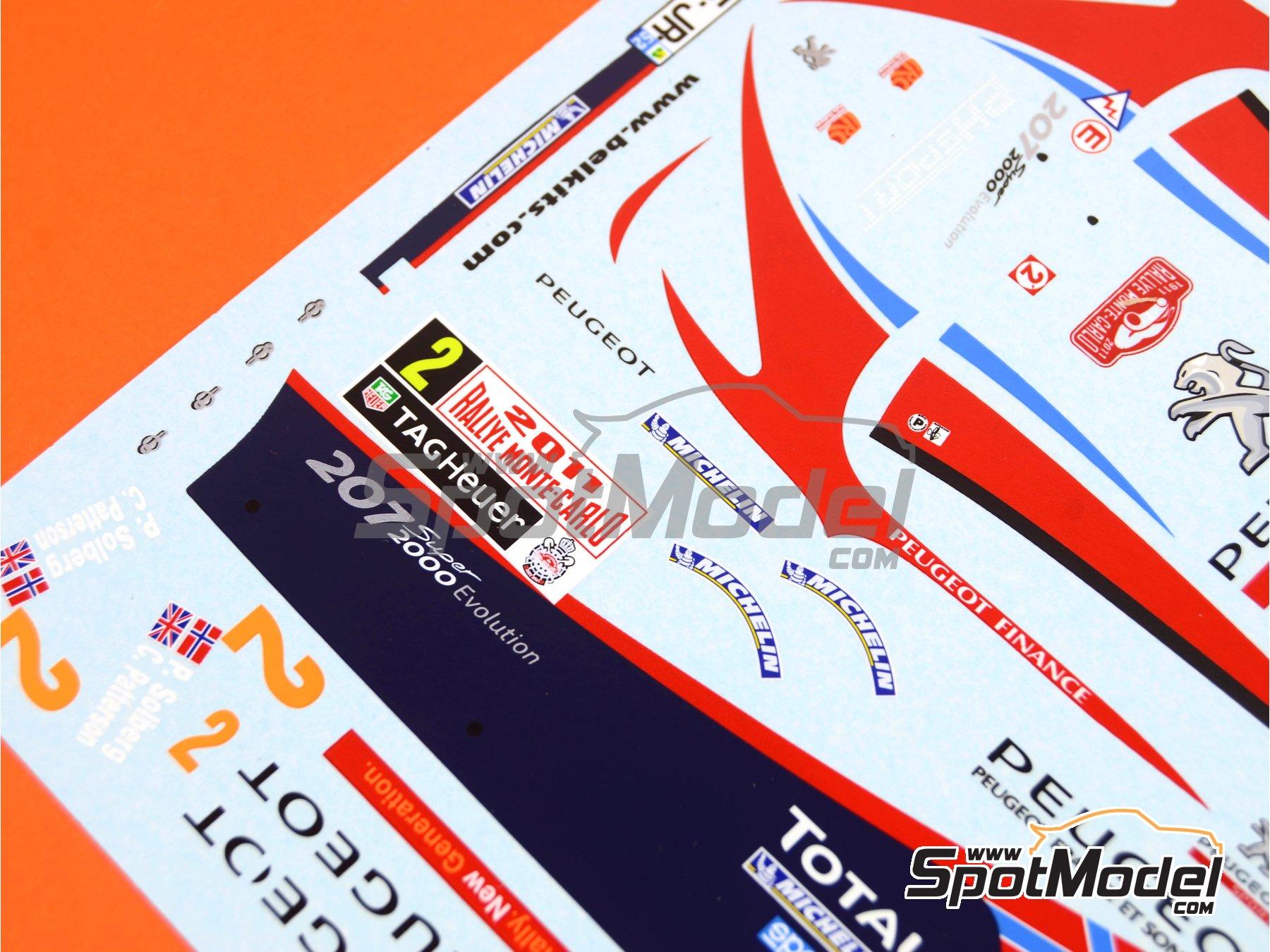 Image 5: Peugeot 207 S2000 Total - Rally de Montecarlo 2011 | Decoración en escala1/24 fabricado por Belkits (ref.BEL-DEC006)