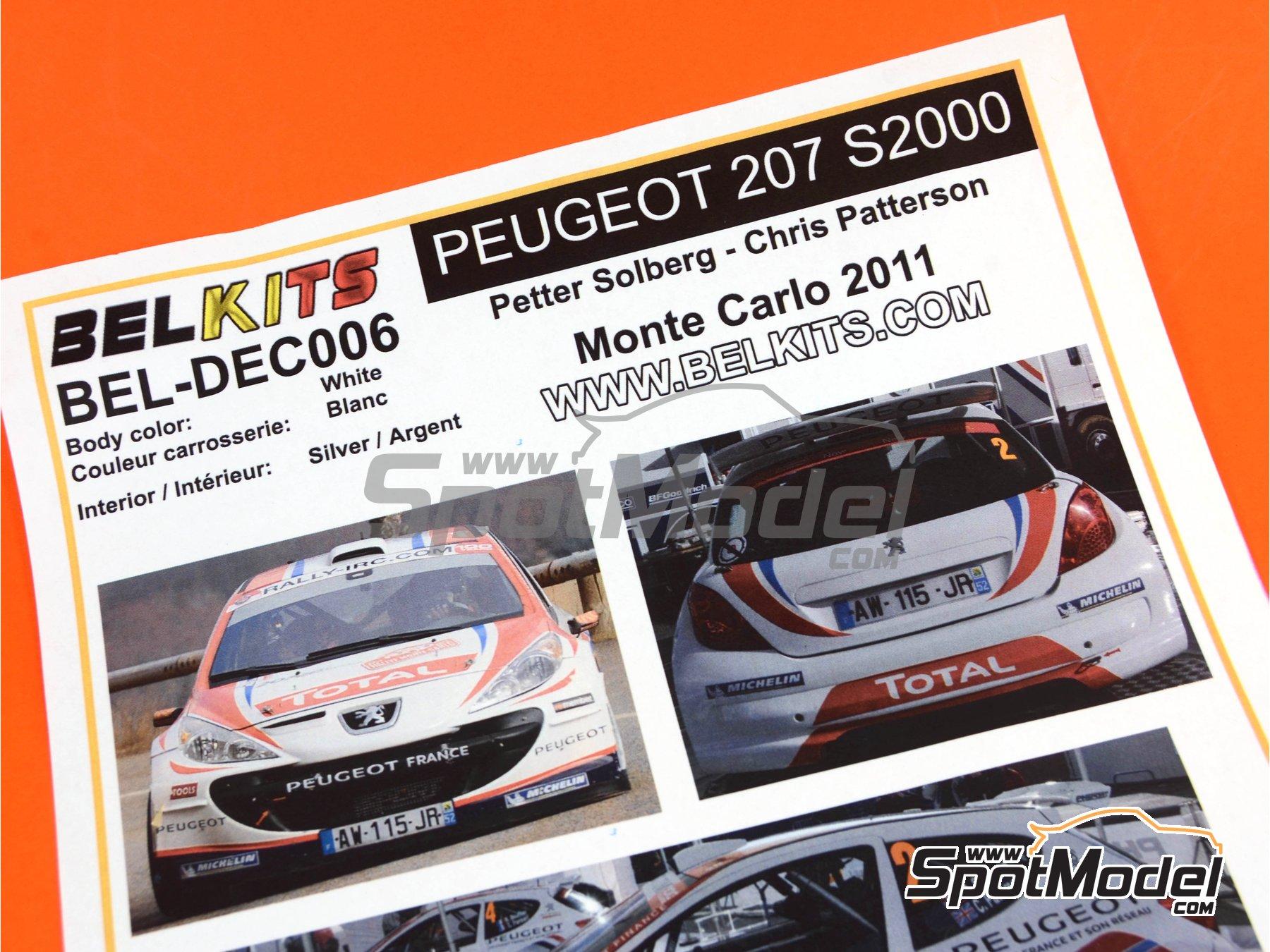Image 8: Peugeot 207 S2000 Total - Rally de Montecarlo 2011 | Decoración en escala1/24 fabricado por Belkits (ref.BEL-DEC006)