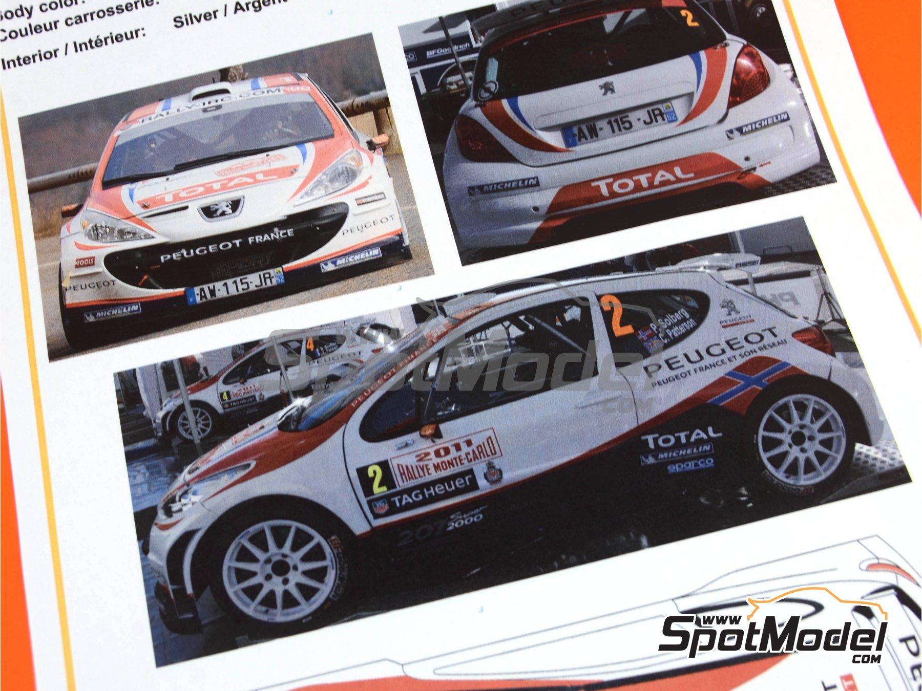 Image 9: Peugeot 207 S2000 Total - Rally de Montecarlo 2011 | Decoración en escala1/24 fabricado por Belkits (ref.BEL-DEC006)