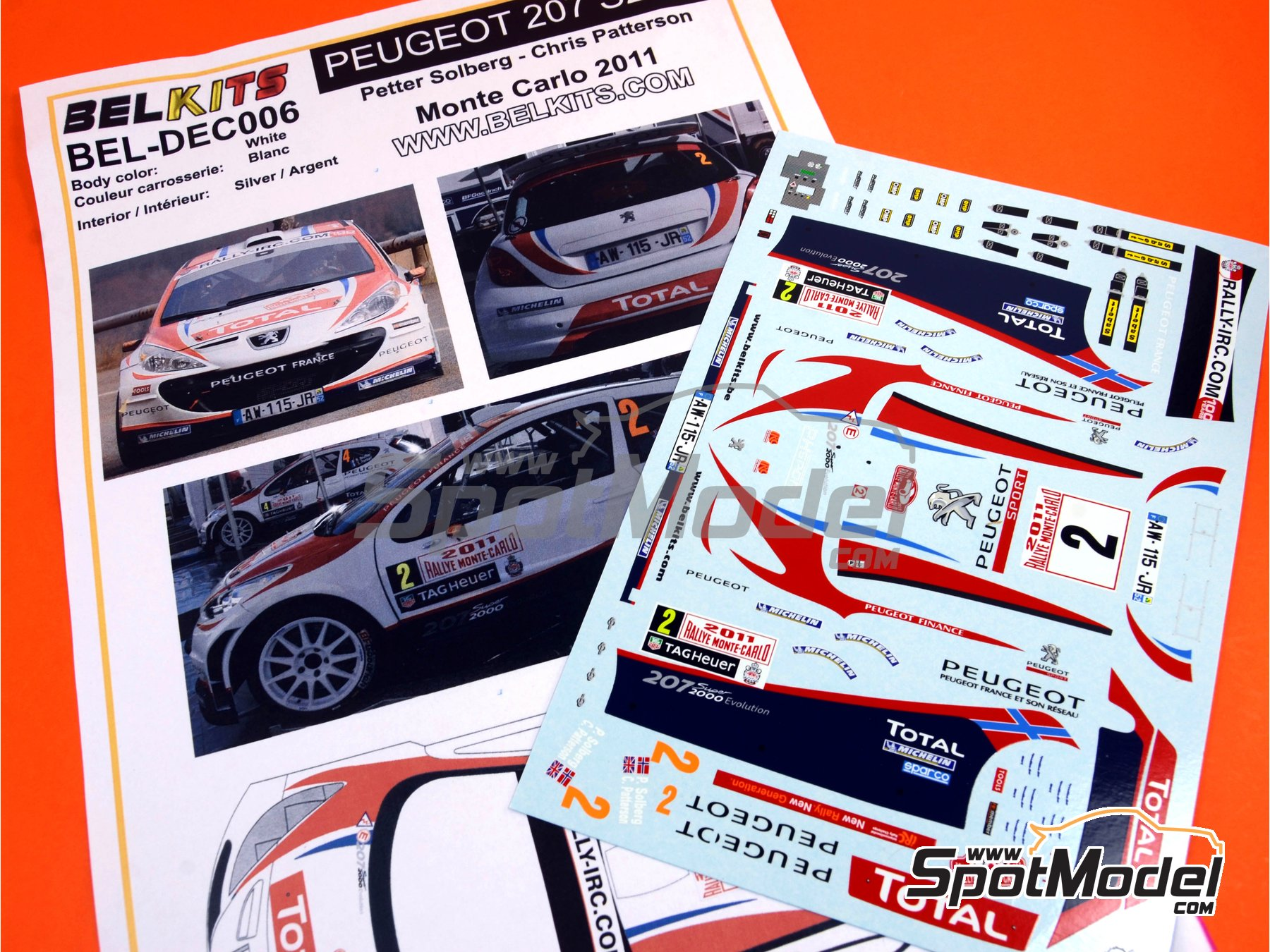 Image 11: Peugeot 207 S2000 Total - Rally de Montecarlo 2011 | Decoración en escala1/24 fabricado por Belkits (ref.BEL-DEC006)
