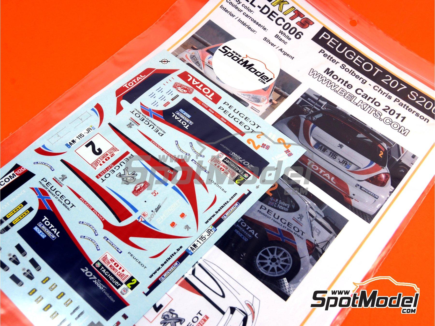 Image 12: Peugeot 207 S2000 Total - Rally de Montecarlo 2011 | Decoración en escala1/24 fabricado por Belkits (ref.BEL-DEC006)