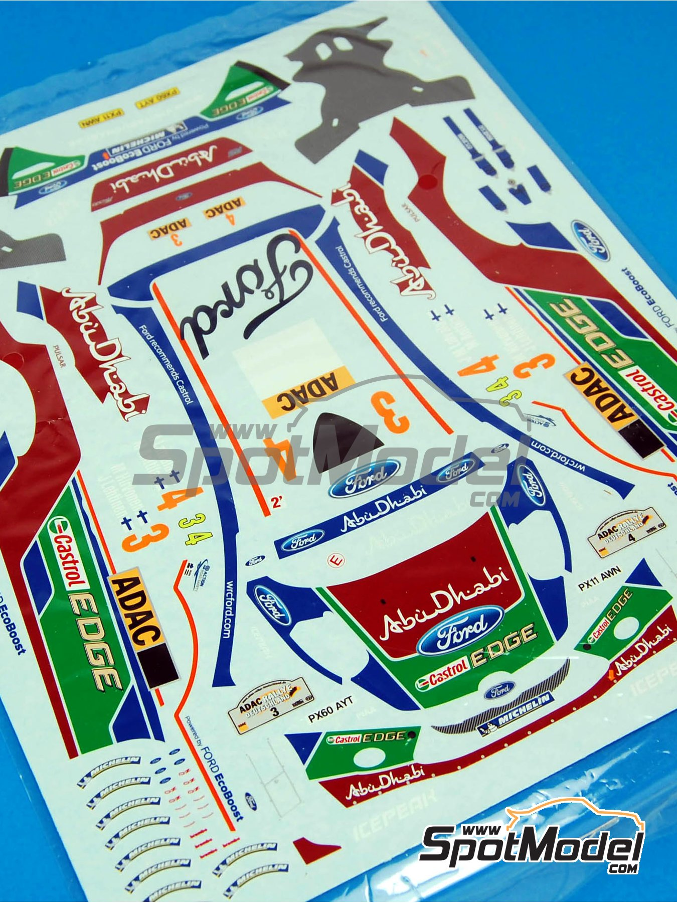 Ford Fiesta RS WRC: Decals | Spare part in 1/24 scale manufactured by Belkits (ref.BEL003-DECALS) image