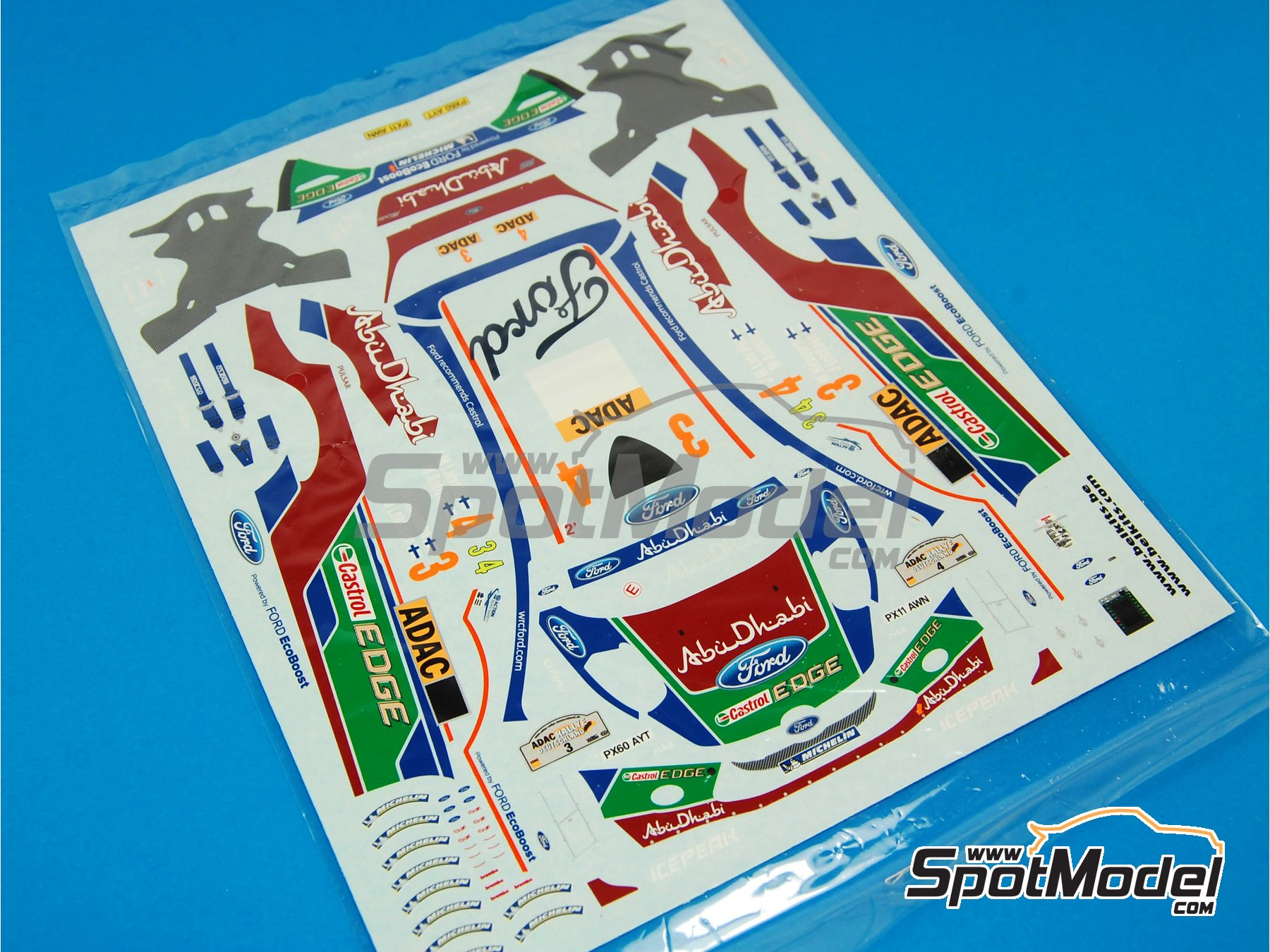 Image 1: Ford Fiesta RS WRC: Decals | Spare part in 1/24 scale manufactured by Belkits (ref.BEL003-DECALS)