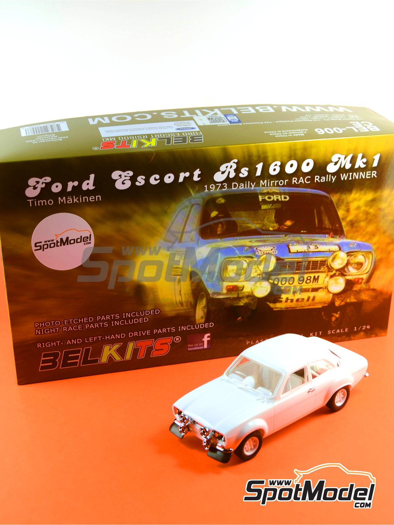Ford Escort RS1600 Mk I - RAC Rally 1973 | Model car kit in 1/24 scale manufactured by Belkits (ref. BEL006) image