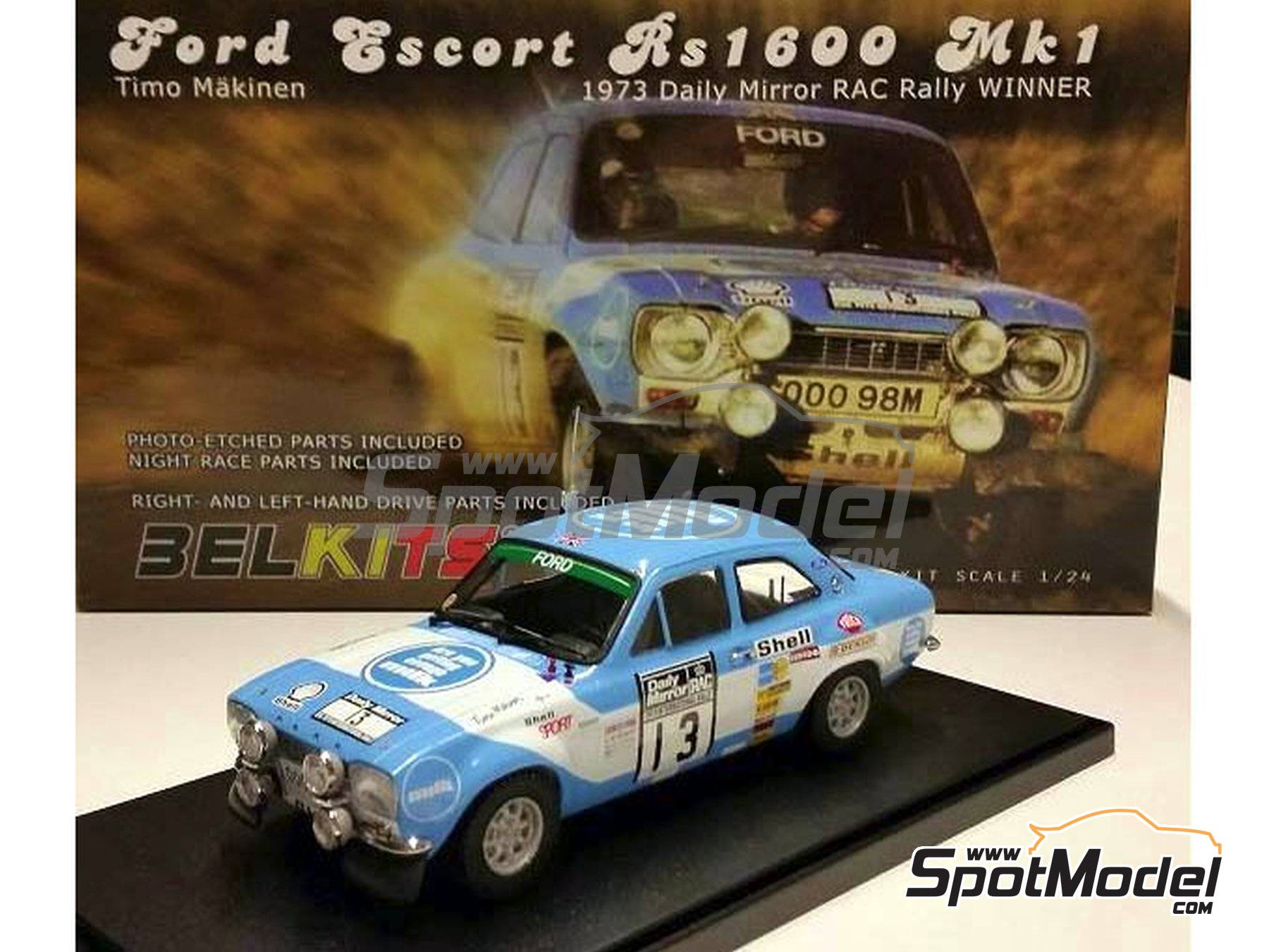 Image 1: Ford Escort RS1600 Mk I - Great Britain RAC Rally 1973 | Model car kit in 1/24 scale manufactured by Belkits (ref. BEL006)