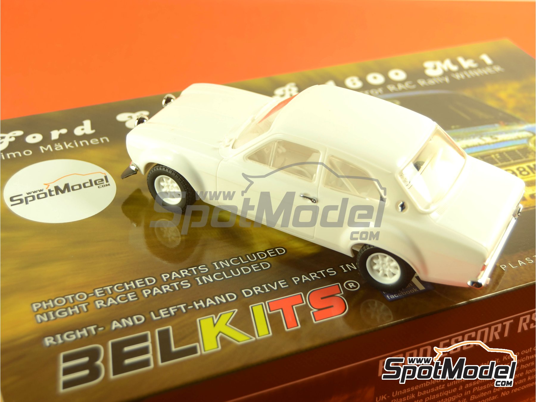 Image 26: Ford Escort RS1600 Mk I - RAC Rally 1973 | Model car kit in 1/24 scale manufactured by Belkits (ref. BEL006)