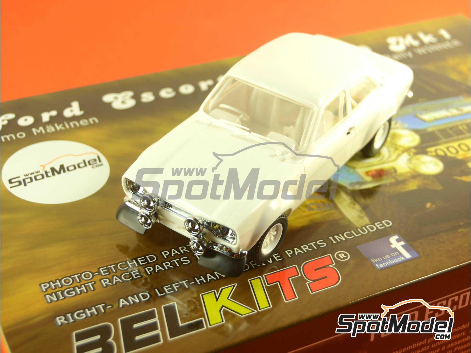 Image 28: Ford Escort RS1600 Mk I - Great Britain RAC Rally 1973 | Model car kit in 1/24 scale manufactured by Belkits (ref. BEL006)