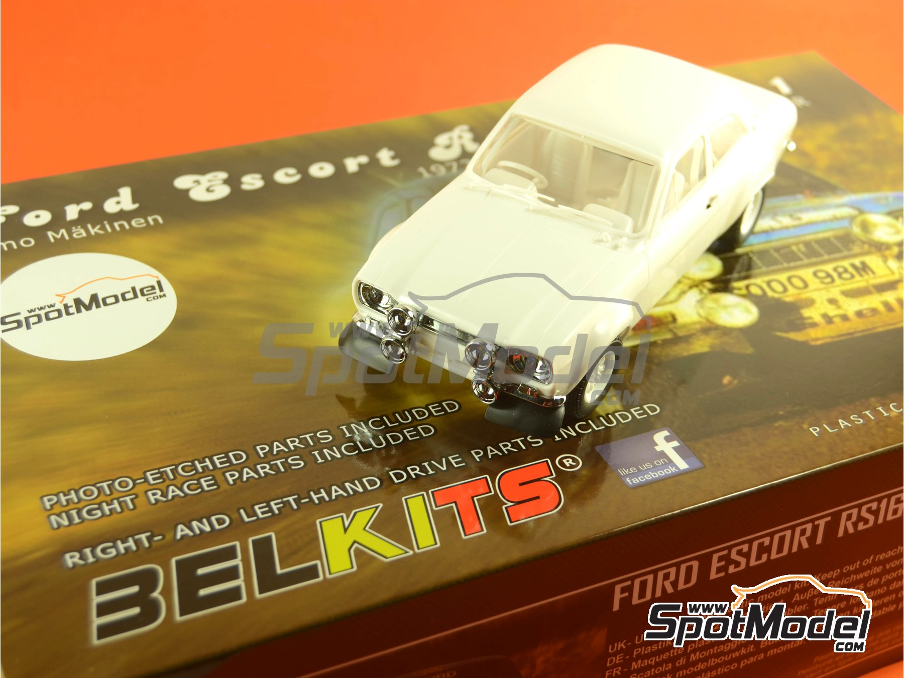 Image 29: Ford Escort RS1600 Mk I - RAC Rally 1973 | Model car kit in 1/24 scale manufactured by Belkits (ref. BEL006)