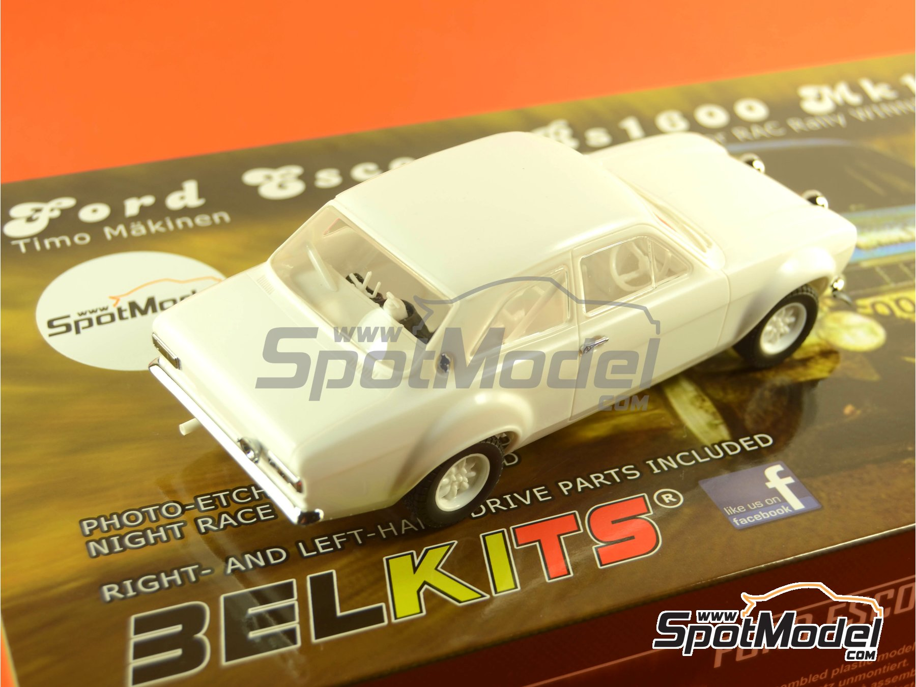 Image 35: Ford Escort RS1600 Mk I - RAC Rally 1973 | Model car kit in 1/24 scale manufactured by Belkits (ref. BEL006)