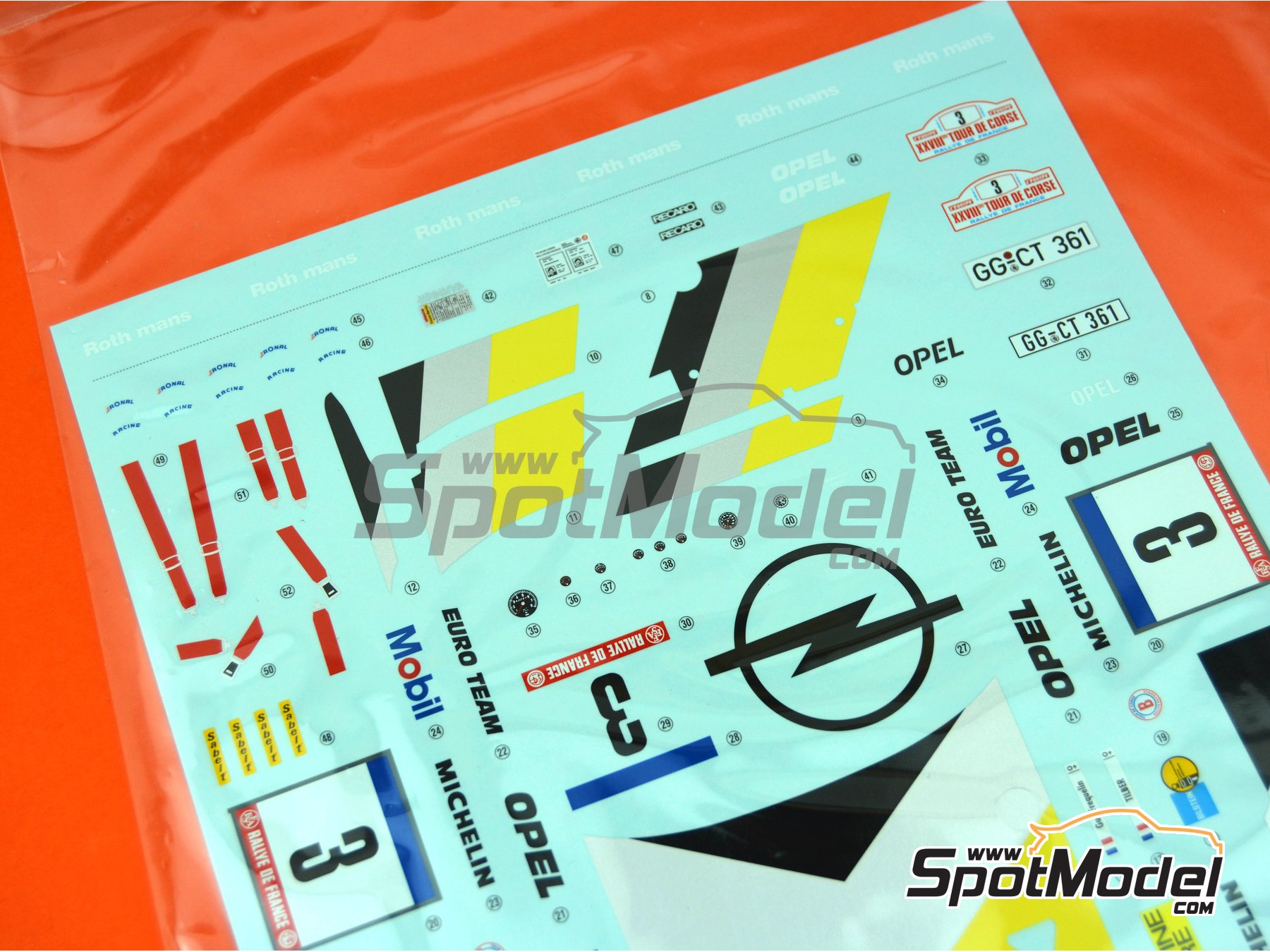 Image 2: Opel Manta 400 Group B: Decals | Spare part in 1/24 scale manufactured by Belkits (ref. BEL008-DECALS)