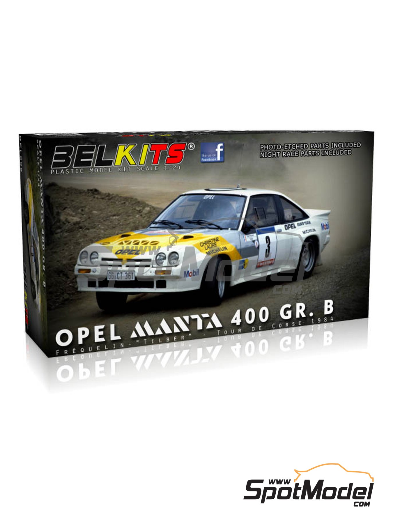 Opel Manta 400 Group B Opel Euro Team - Tour de France Automobile 1984 | Model car kit in 1/24 scale manufactured by Belkits (ref. BEL008) image