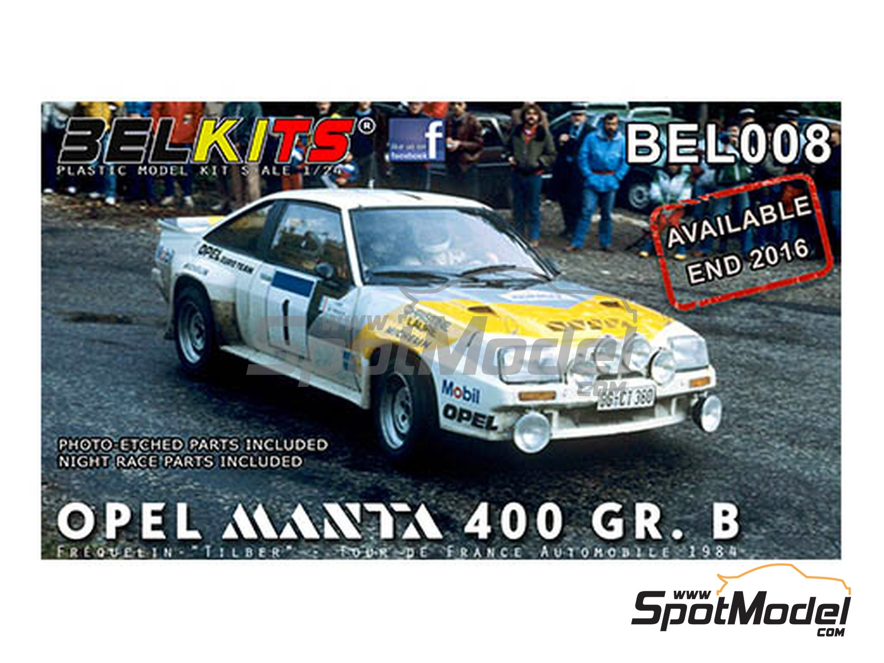 Image 1: Opel Manta 400 Group B Opel Euro Team - Tour de France Automobile 1984 | Model car kit in 1/24 scale manufactured by Belkits (ref. BEL008)