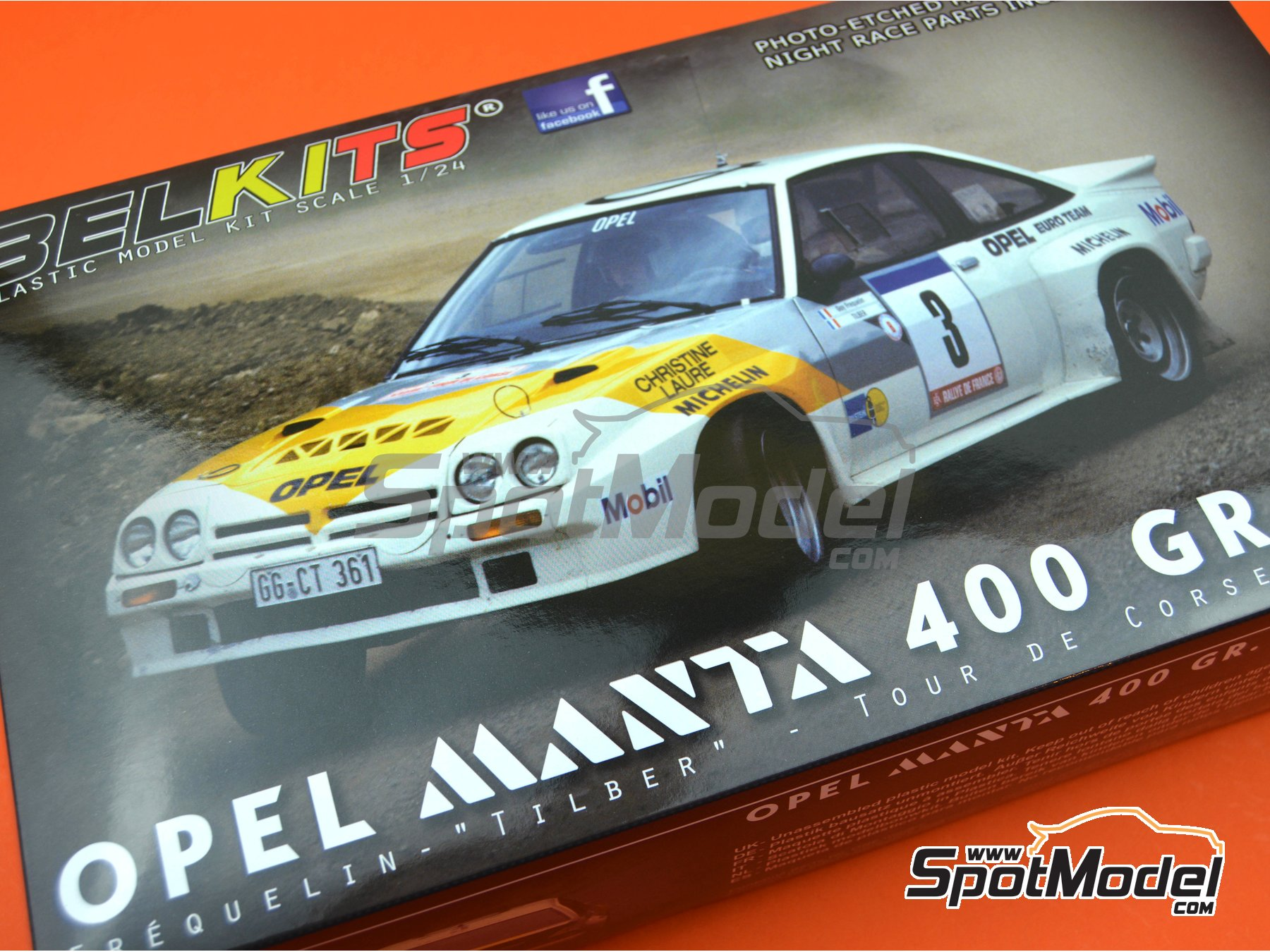 Image 28: Opel Manta 400 Group B Opel Euro Team - Tour de France Automobile 1984 | Model car kit in 1/24 scale manufactured by Belkits (ref. BEL008)