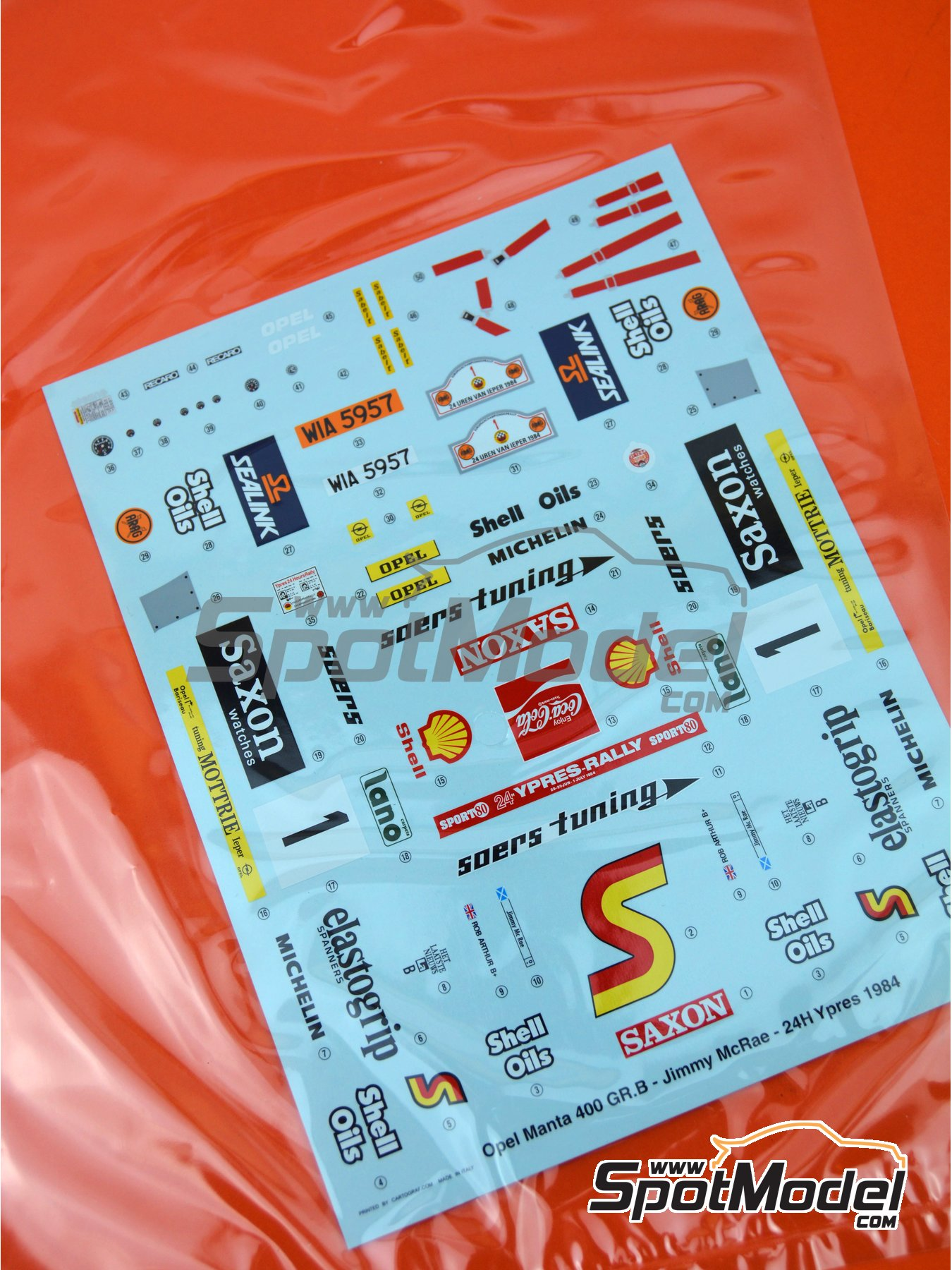 Opel Manta 400 Group B: Decal - 24 Hours de Ypres Rally 1984 | Spare part in 1/24 scale manufactured by Belkits (ref.BEL009-DECAL) image