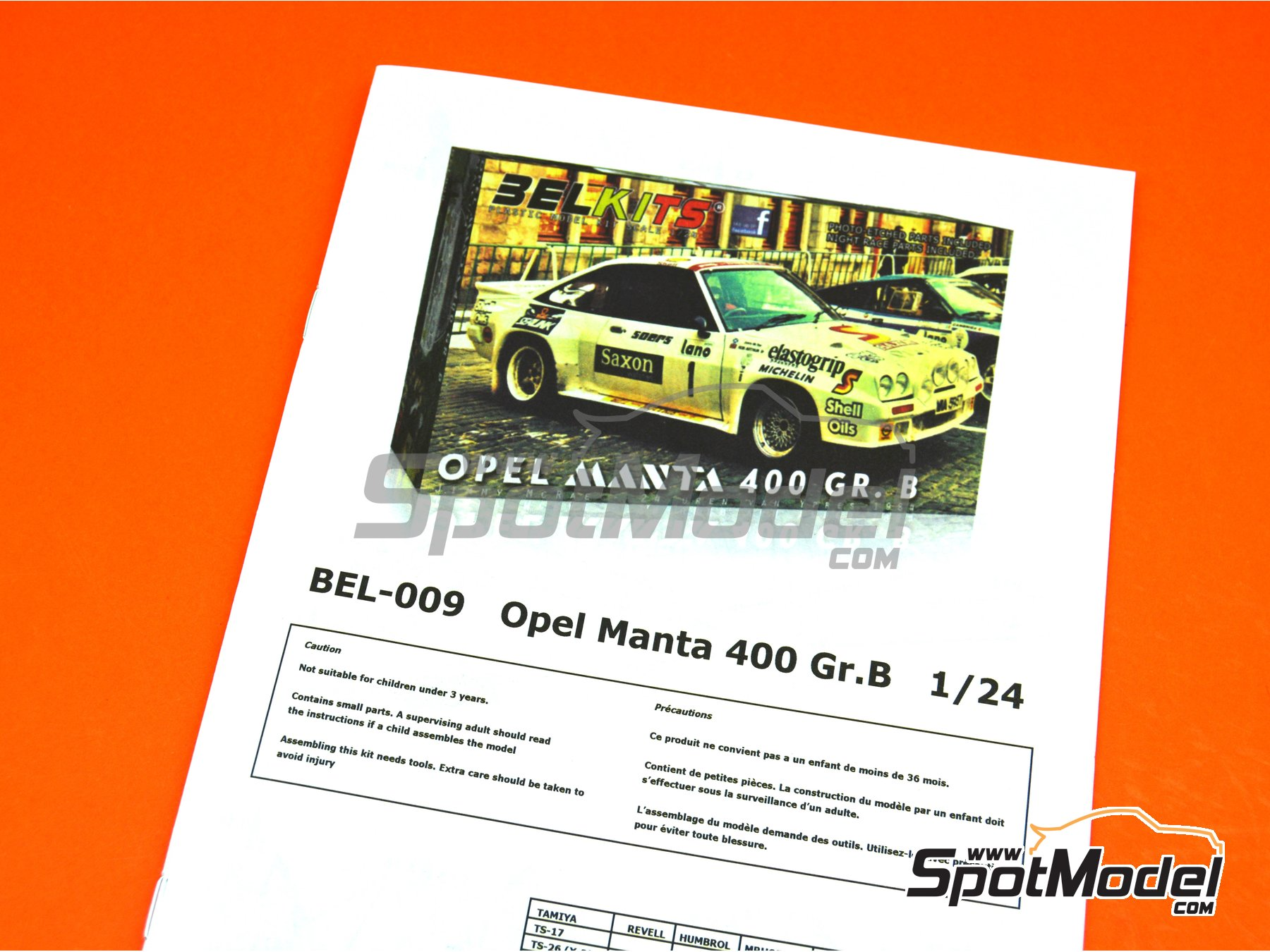 Image 21: Opel Manta 400 Group B - 24 Hours de Ypres Rally 1984 | Model car kit in 1/24 scale manufactured by Belkits (ref. BEL009)