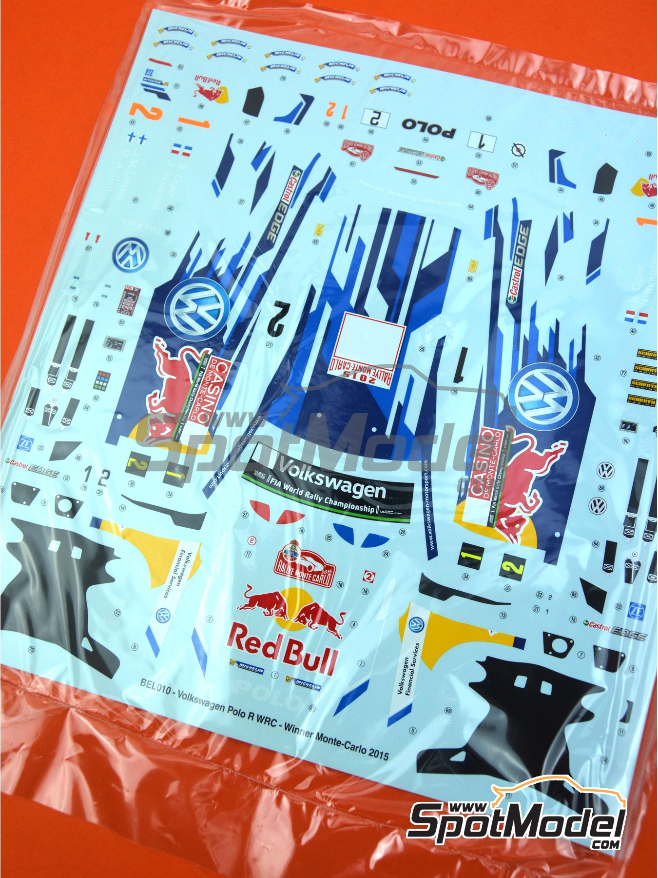 Volkswagen Polo R WRC: Decals | Spare part in 1/24 scale manufactured by Belkits (ref.BEL010-DECALS) image
