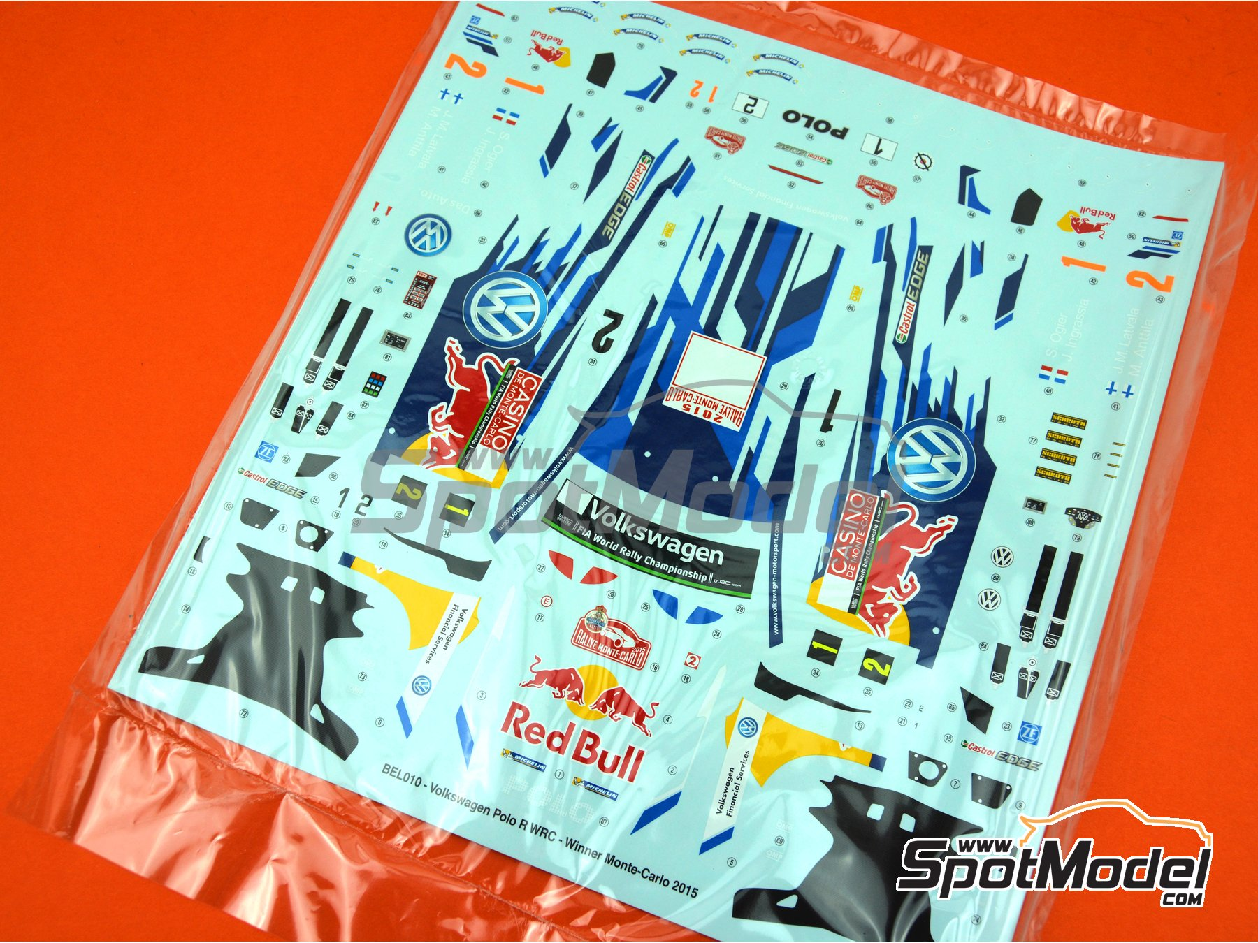 Image 1: Volkswagen Polo R WRC: Decals | Spare part in 1/24 scale manufactured by Belkits (ref.BEL010-DECALS)