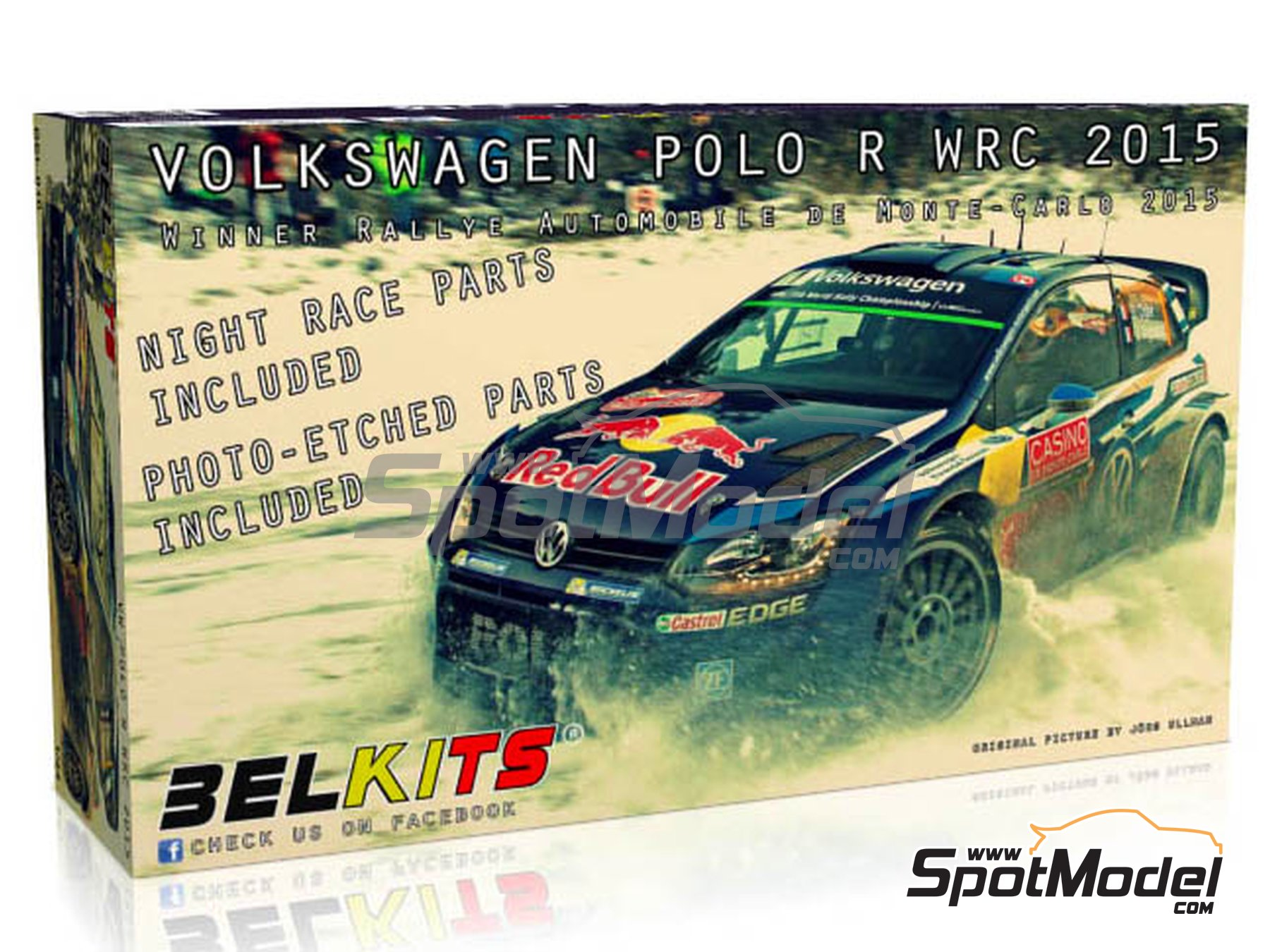 Image 1: Volkswagen Polo R WRC - Montecarlo Rally 2015 | Model car kit in 1/24 scale manufactured by Belkits (ref. BEL010)
