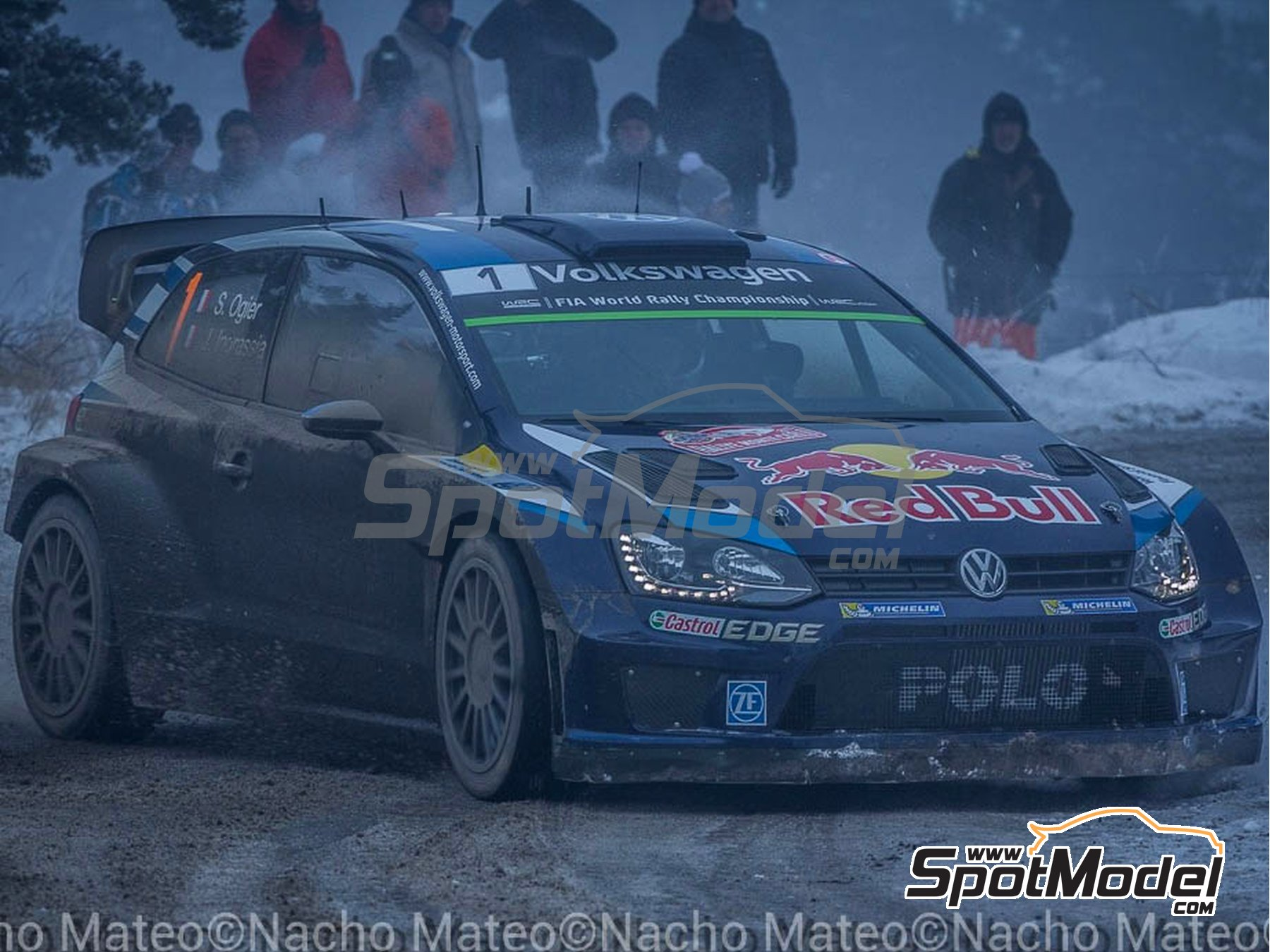 Image 2: Volkswagen Polo R WRC - Montecarlo Rally 2015 | Model car kit in 1/24 scale manufactured by Belkits (ref. BEL010)