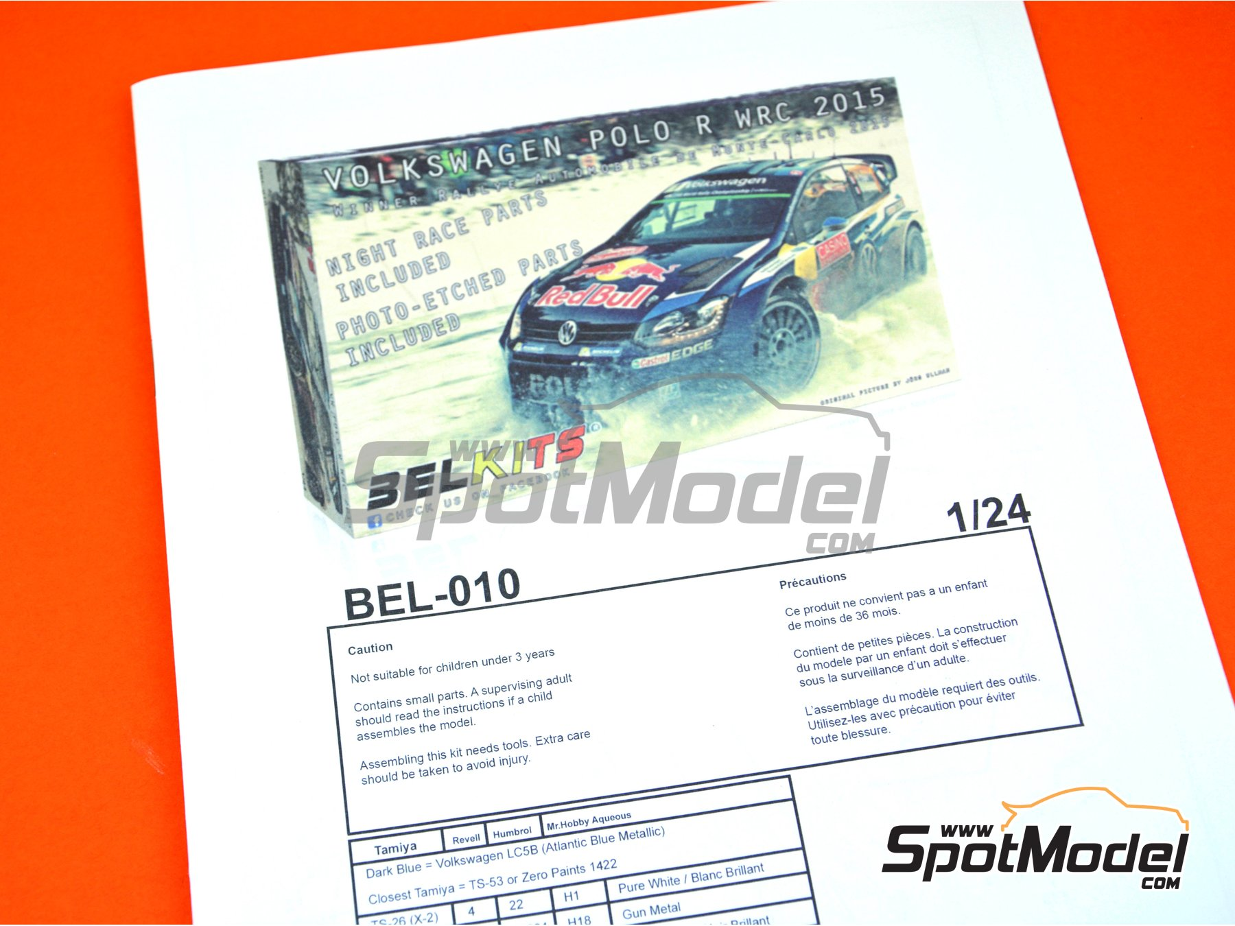 Image 12: Volkswagen Polo R WRC - Montecarlo Rally 2015 | Model car kit in 1/24 scale manufactured by Belkits (ref. BEL010)