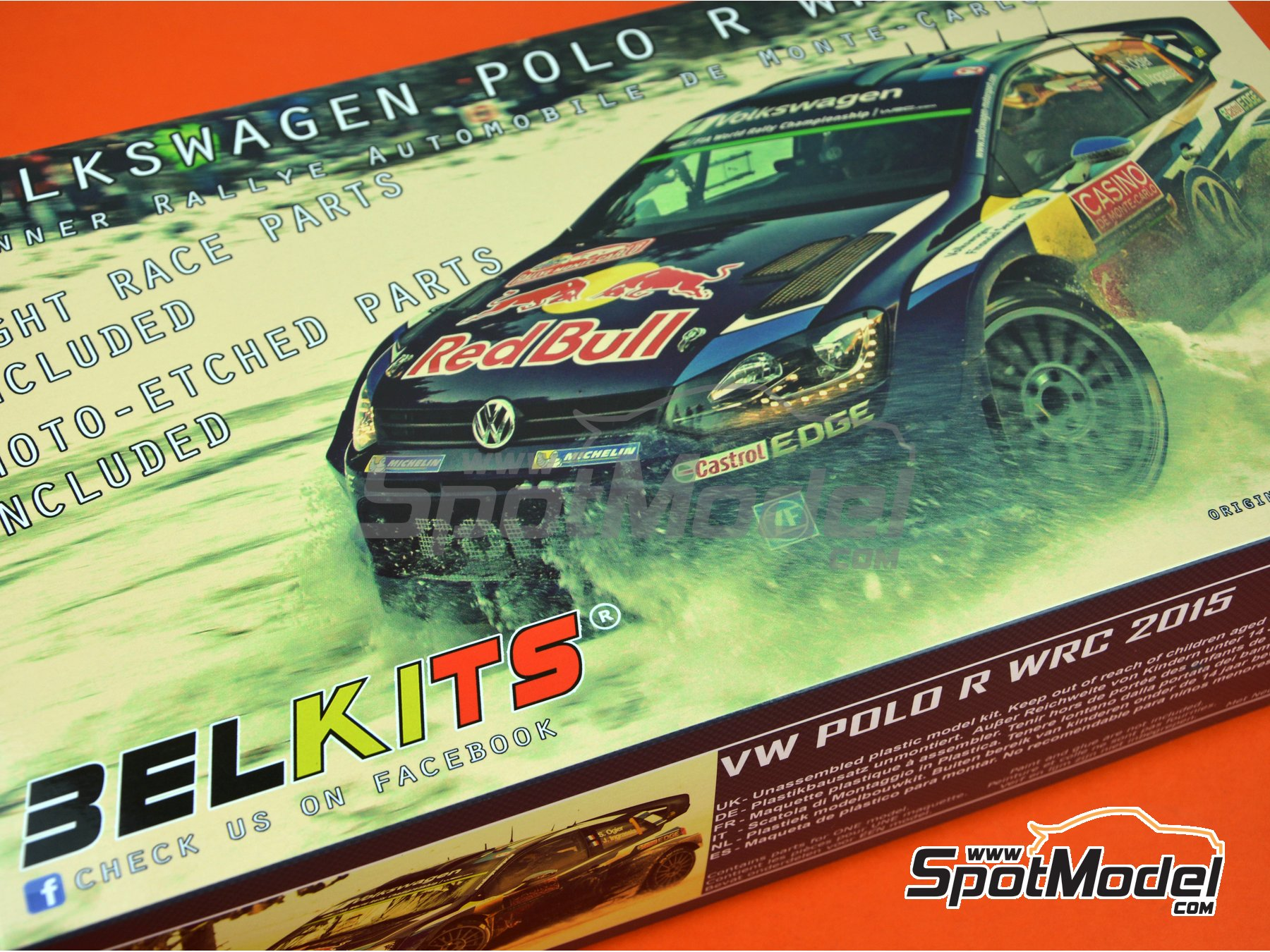 Image 22: Volkswagen Polo R WRC - Montecarlo Rally 2015 | Model car kit in 1/24 scale manufactured by Belkits (ref. BEL010)