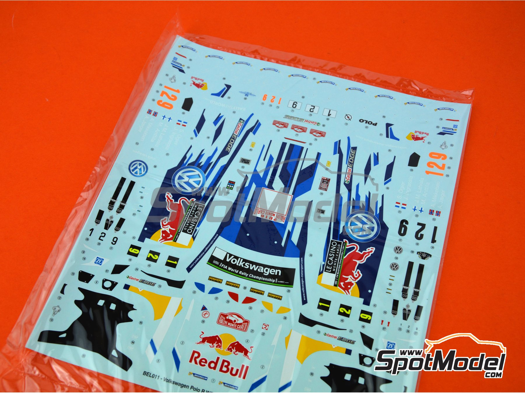 Image 1: Volkswagen Polo R WRC: Decals | Spare part in 1/24 scale manufactured by Belkits (ref.BEL011-DECALS)