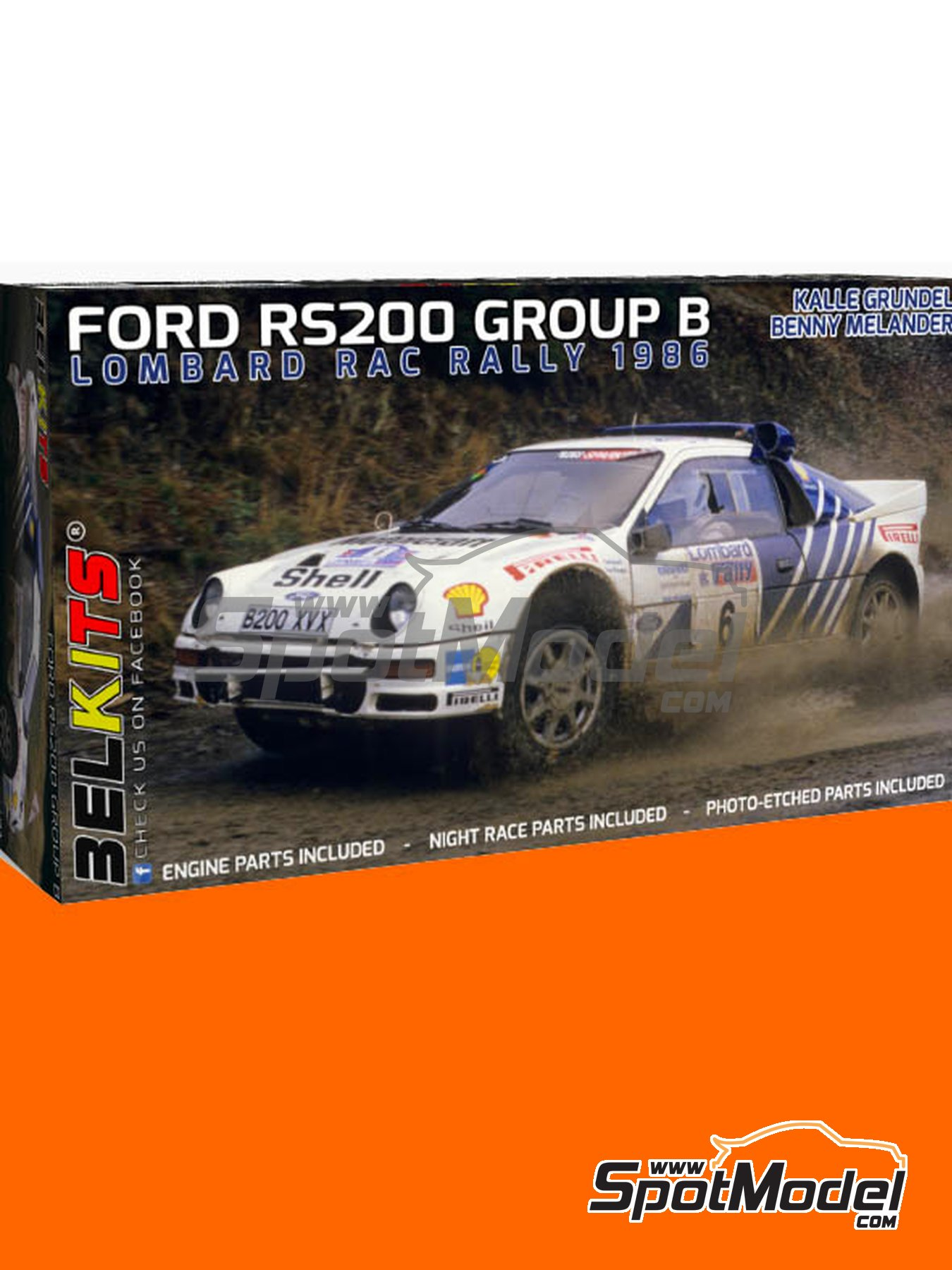 Ford RS200 Group B - Lombard RAC Rally 1986 | Model car kit in 1/24 scale manufactured by Belkits (ref.BEL021, also BEL-021) image