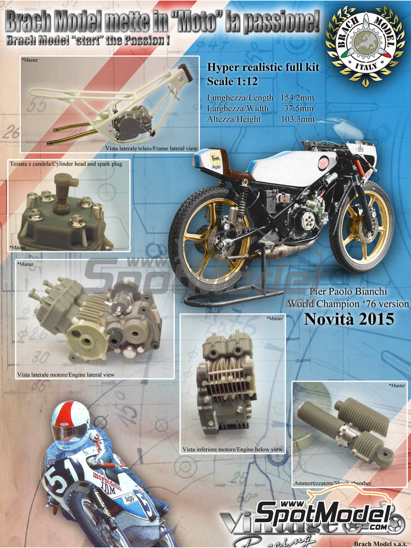Morbidelli 125cc - Motorcycle World Championship 1976 | Model bike kit in 1/12 scale manufactured by Brach Model (ref. BM-VR01) image
