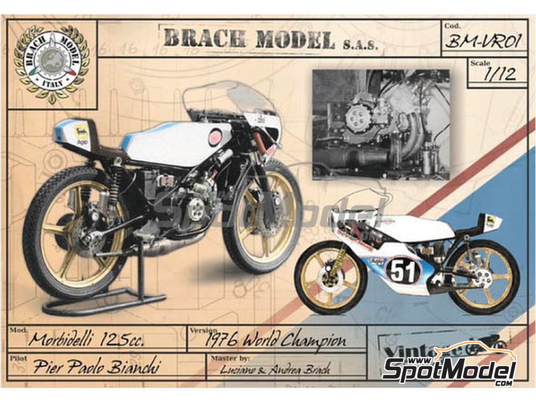 Image 5: Morbidelli 125cc - Motorcycle World Championship 1976 | Model bike kit in 1/12 scale manufactured by Brach Model (ref. BM-VR01)