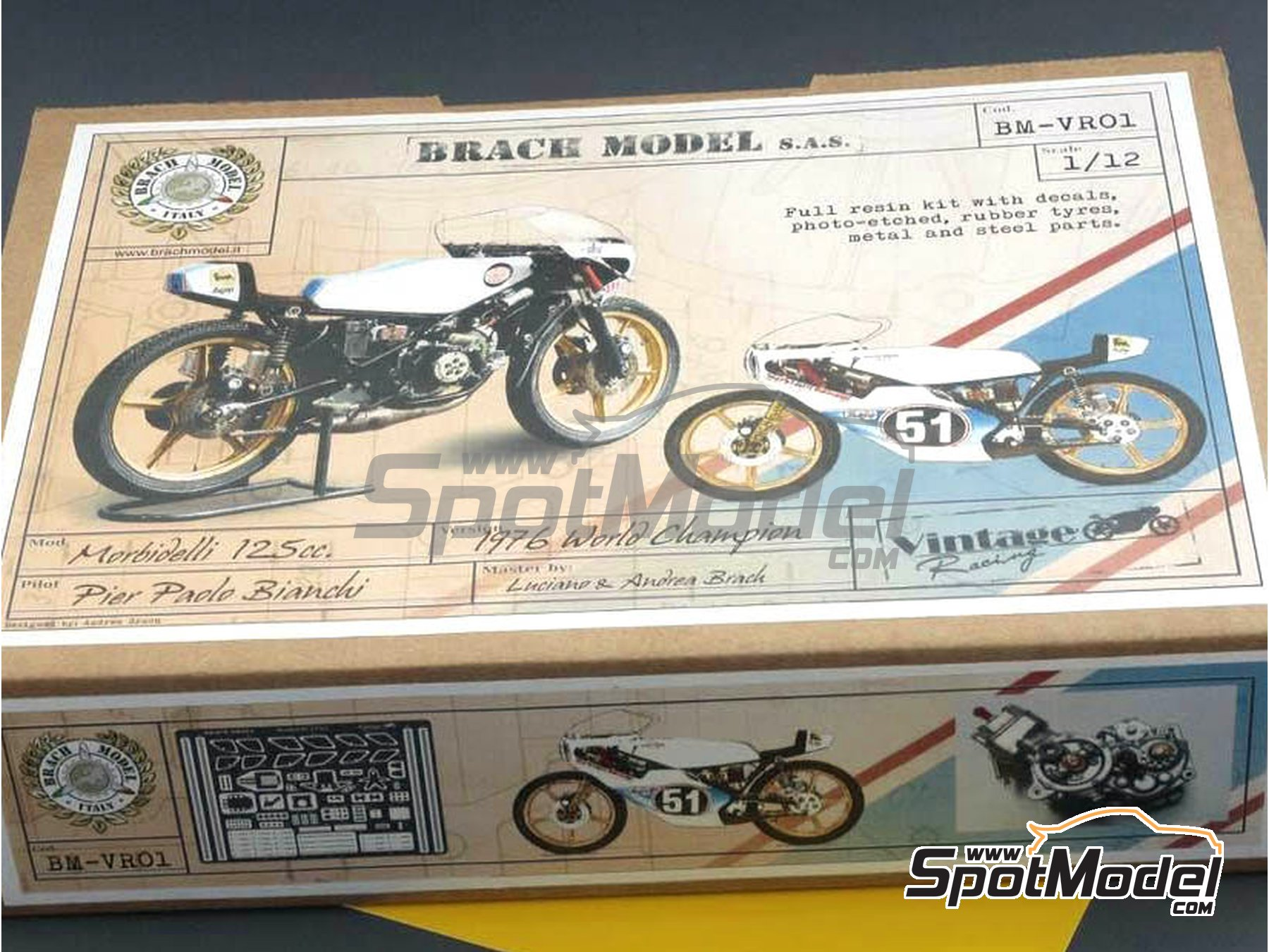 Image 9: Morbidelli 125cc - Motorcycle World Championship 1976 | Model bike kit in 1/12 scale manufactured by Brach Model (ref. BM-VR01)