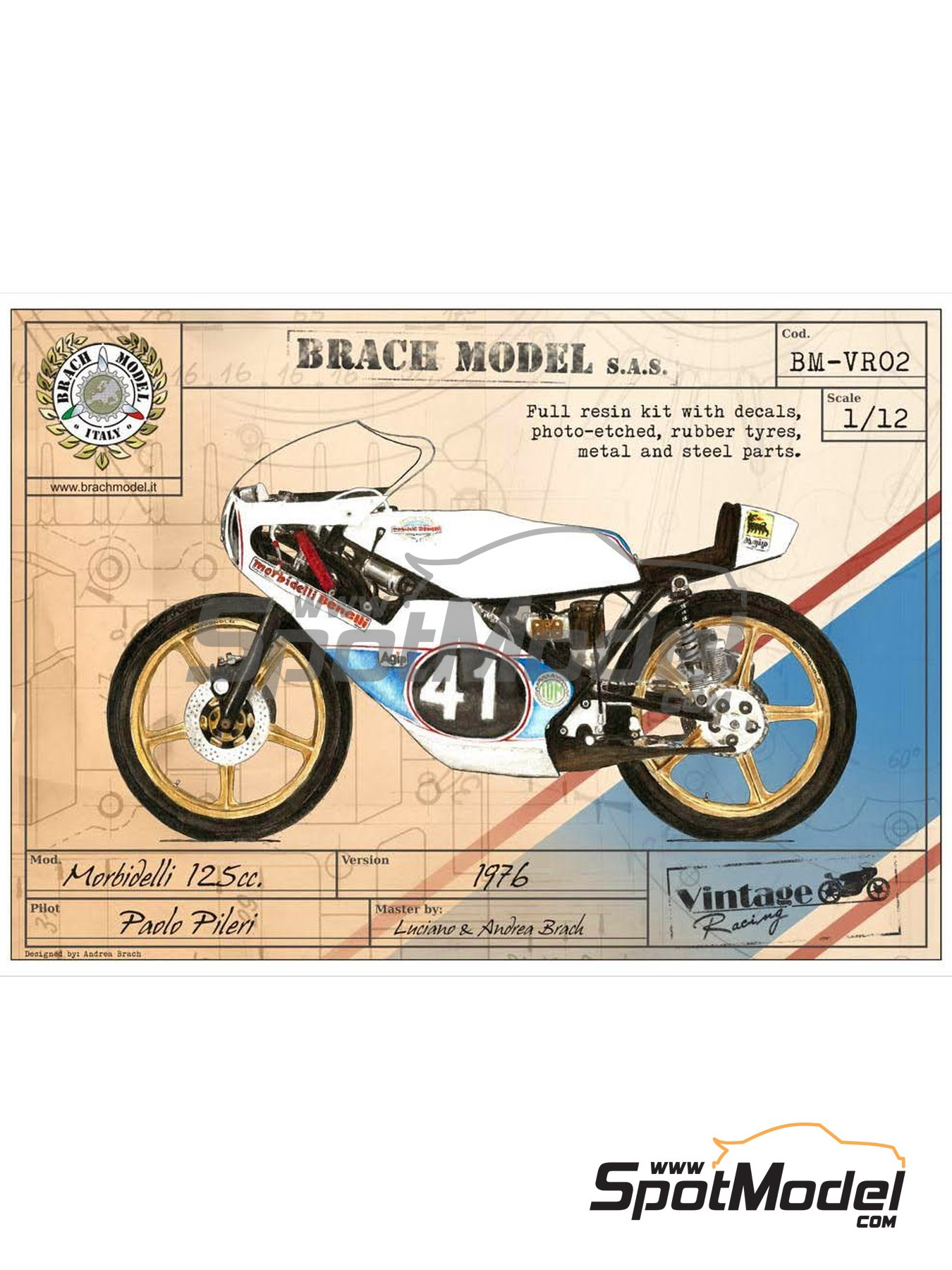 Morbidelli 125cc - Motorcycle World Championship 1976 | Model bike kit in 1/12 scale manufactured by Brach Model (ref. BM-VR02) image